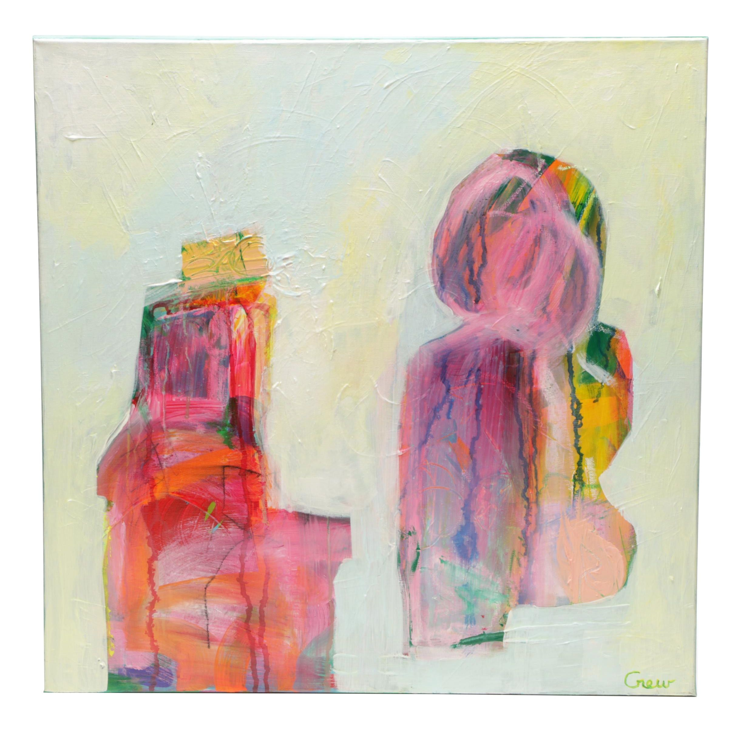 "Susan Crew Mixed Media Painting ""Conversations I"""