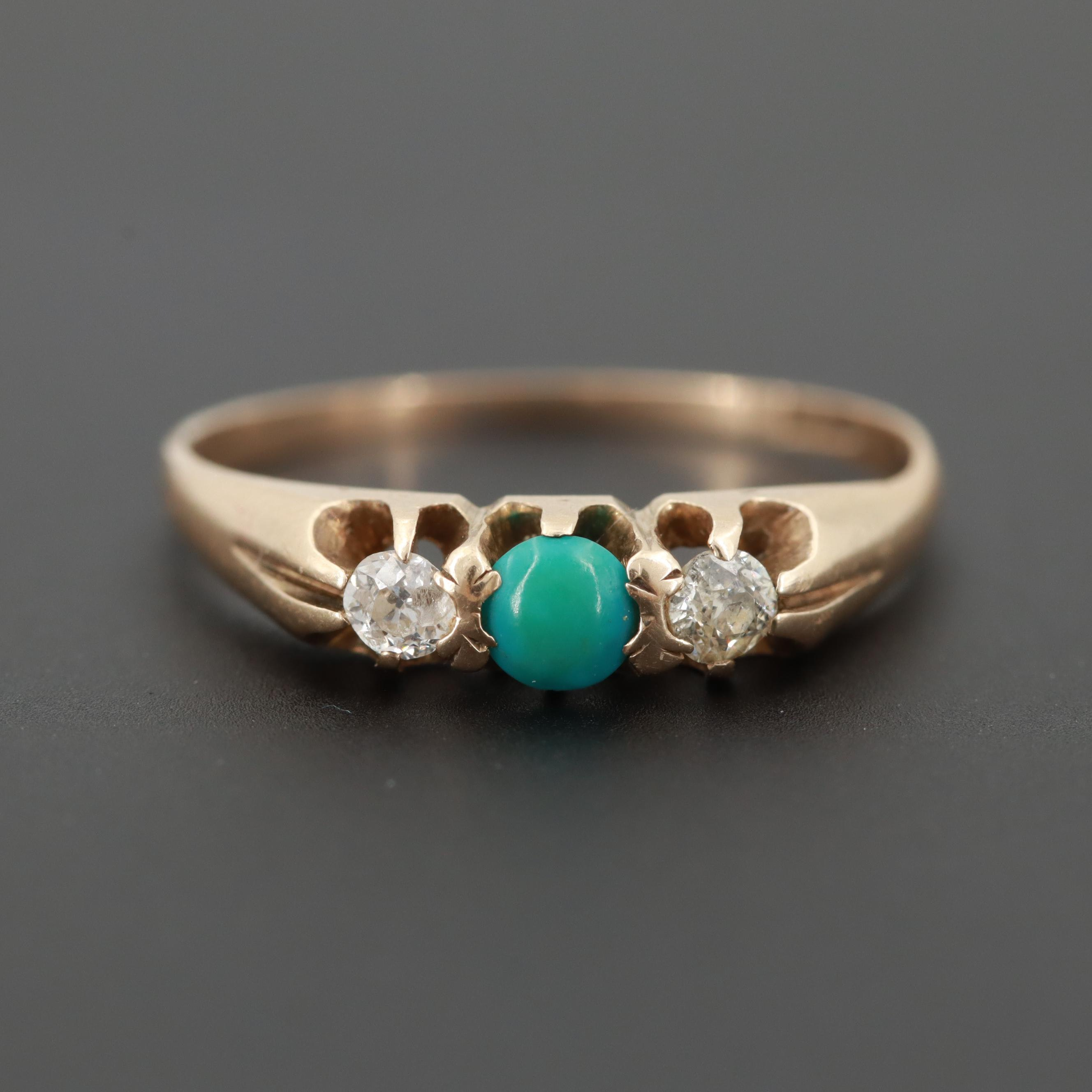 Victorian 14K Yellow Gold Turquoise and Diamond Ring