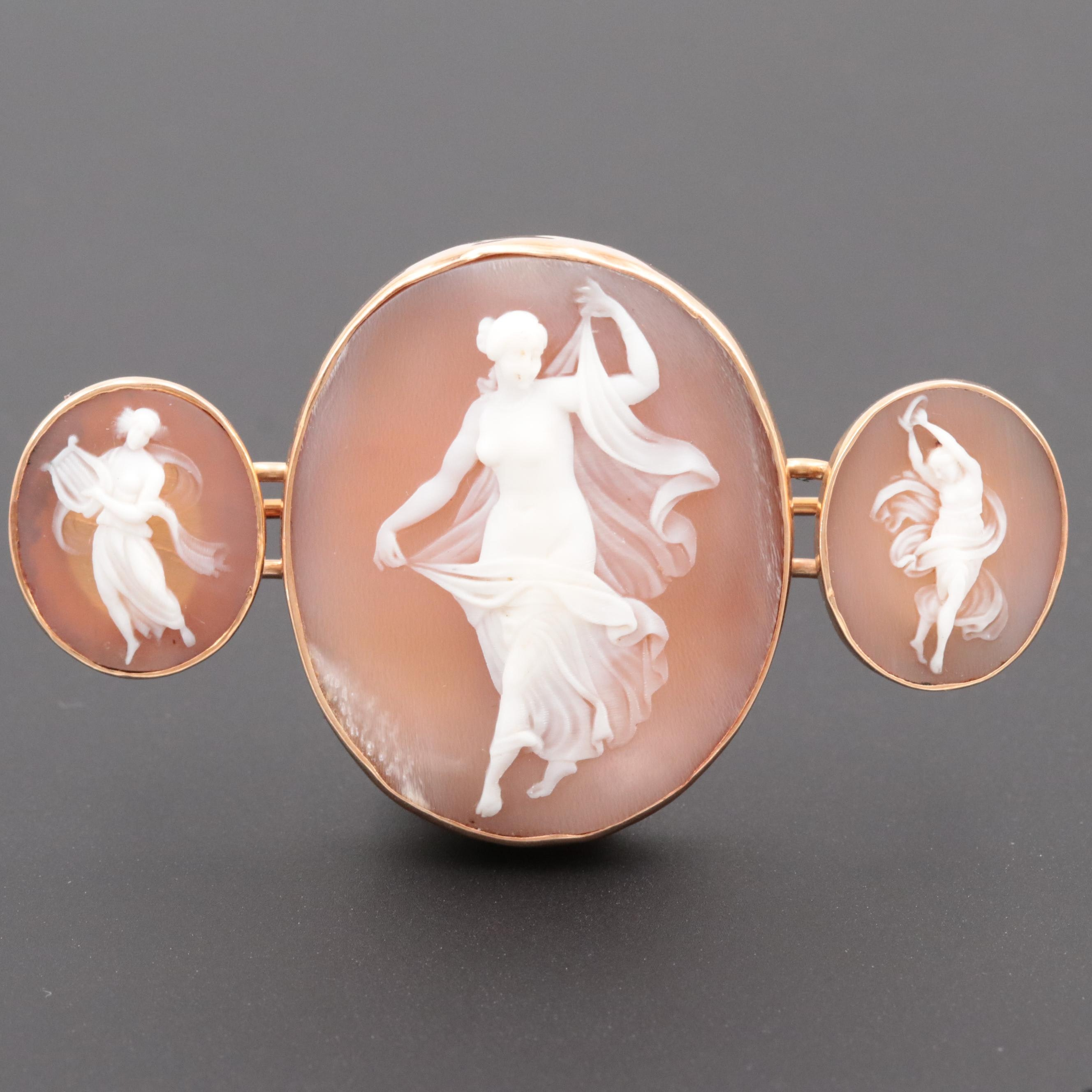 Antique 14K Rose Gold Carved Shell Triple Cameo Brooch