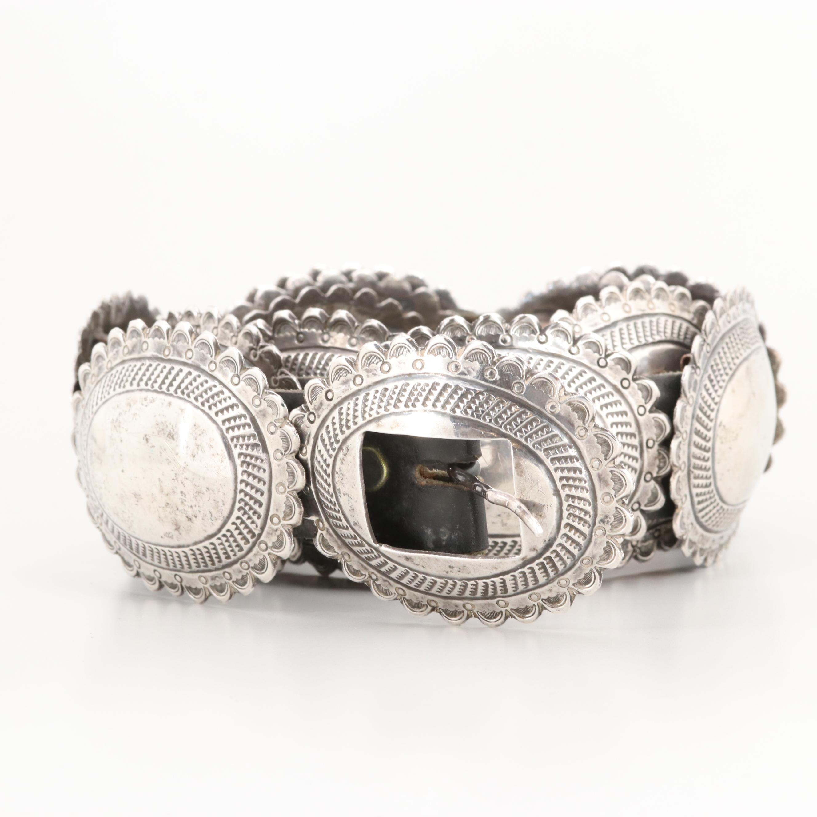 Southwestern Style Sterling Silver Concho Belt