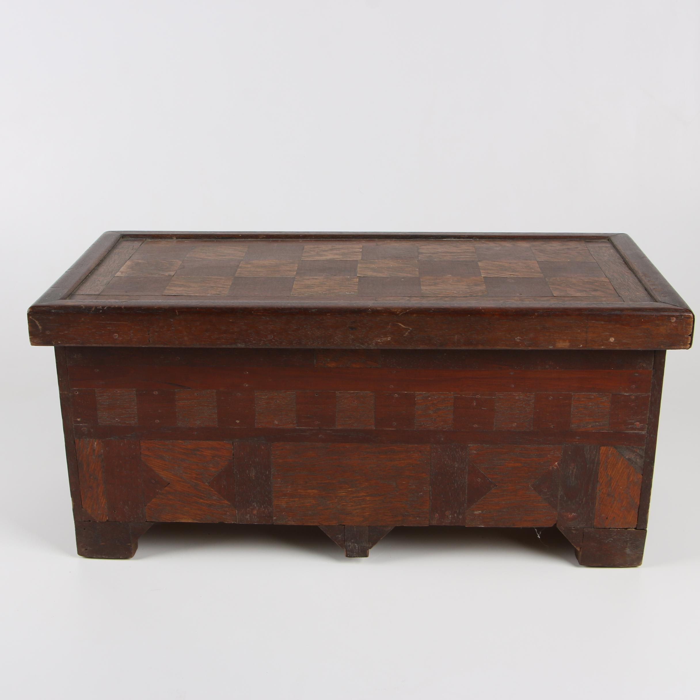 American Folk Art Oak, Walnut, and Parquetry Chest, Early 20th Century