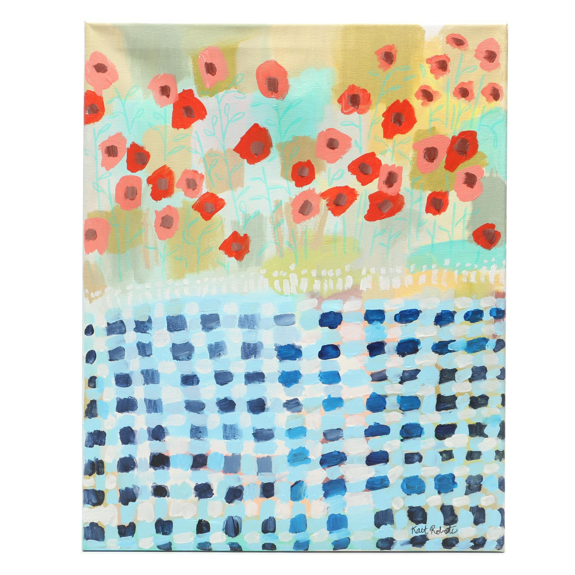 "Kait Roberts Acrylic Painting ""Poppies and Picnics"""