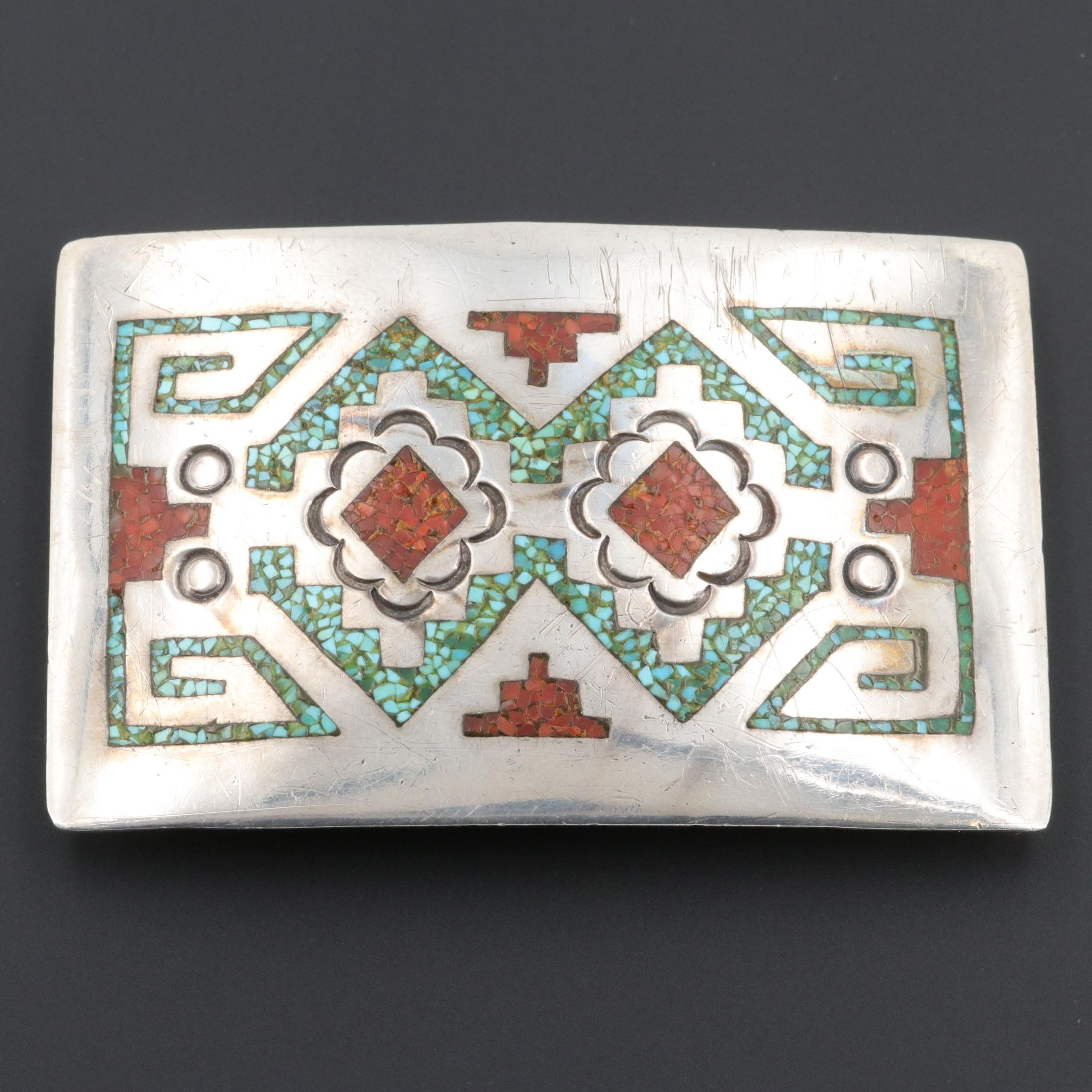 William Singer Navajo Diné Sterling Silver Turquoise and Coral Belt Buckle