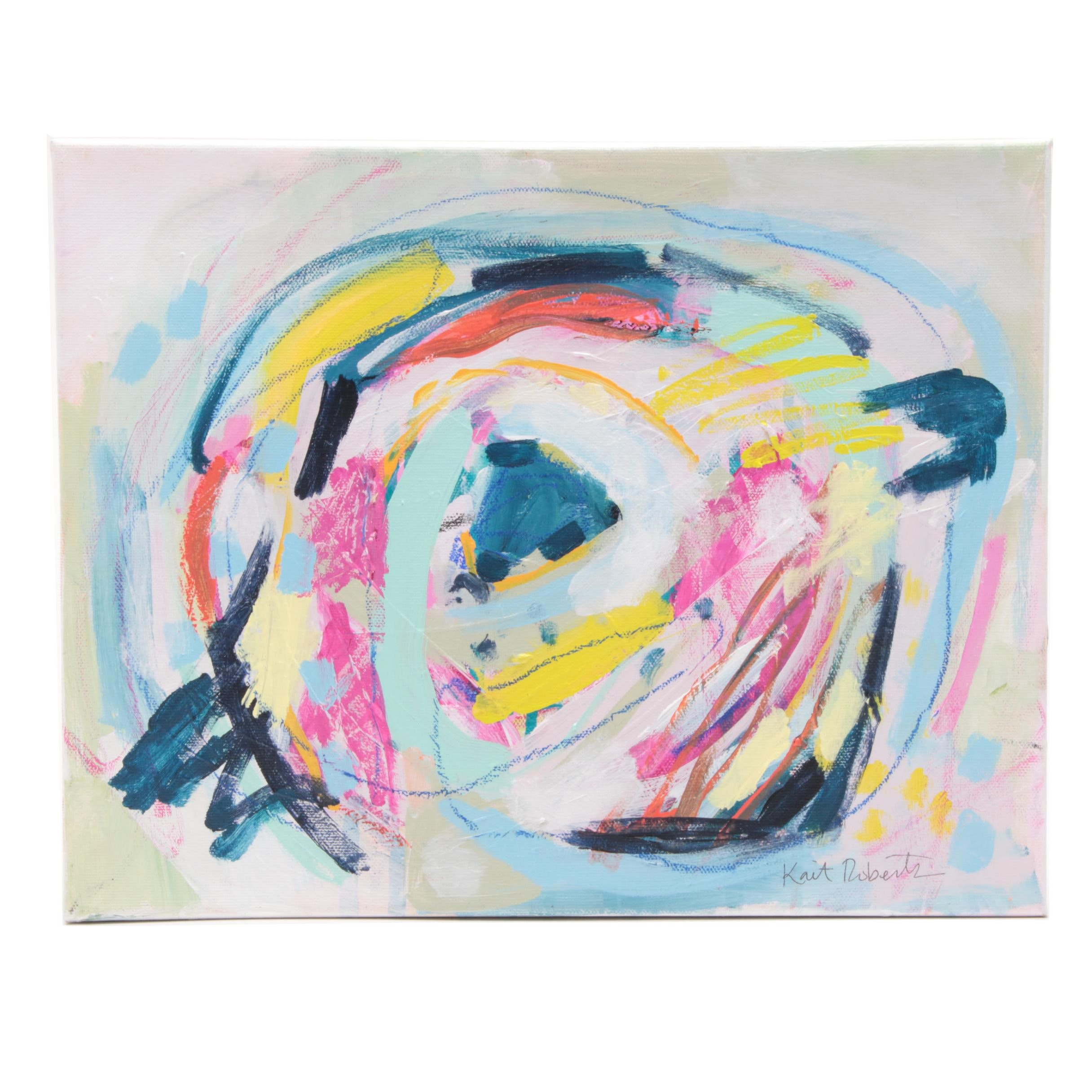 """Kait Roberts Acrylic with Oil Pastel Painting """"Our Nest"""""""