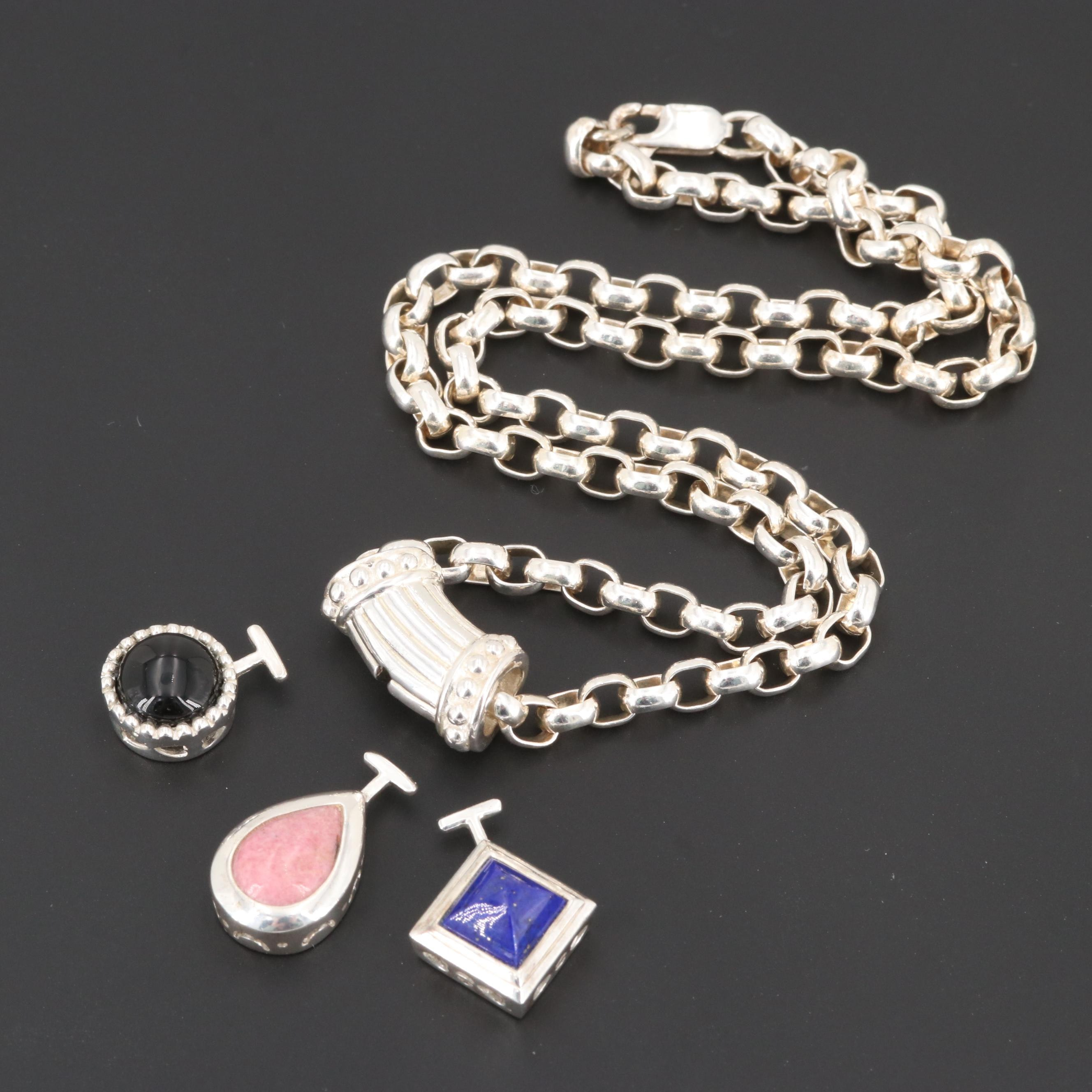 Sterling Slide Necklace with Black Onyx, Rhodonite and Lapis Lazuli Pendants