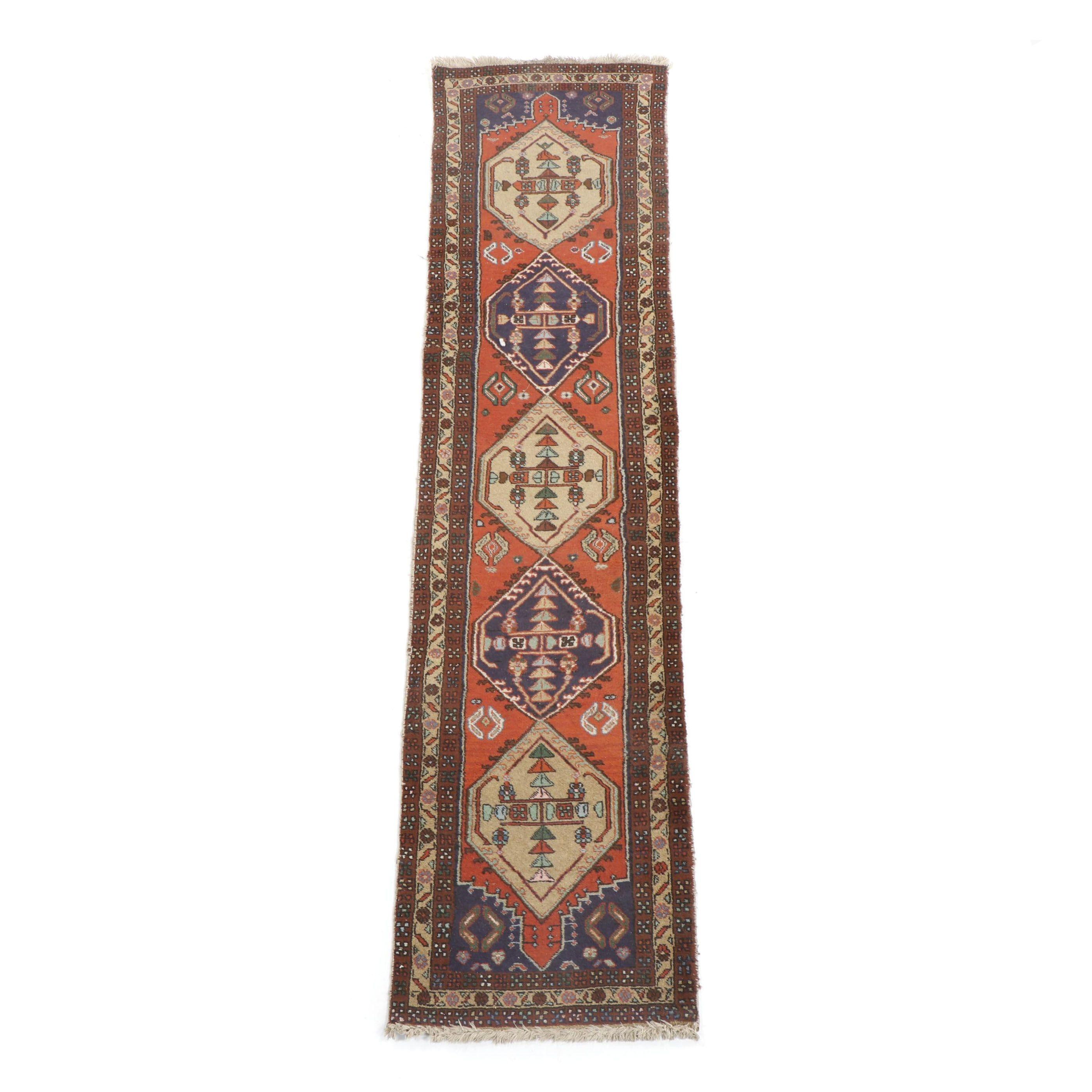 Hand-Knotted Anatolian Ortakoy Wool Carpet Runner