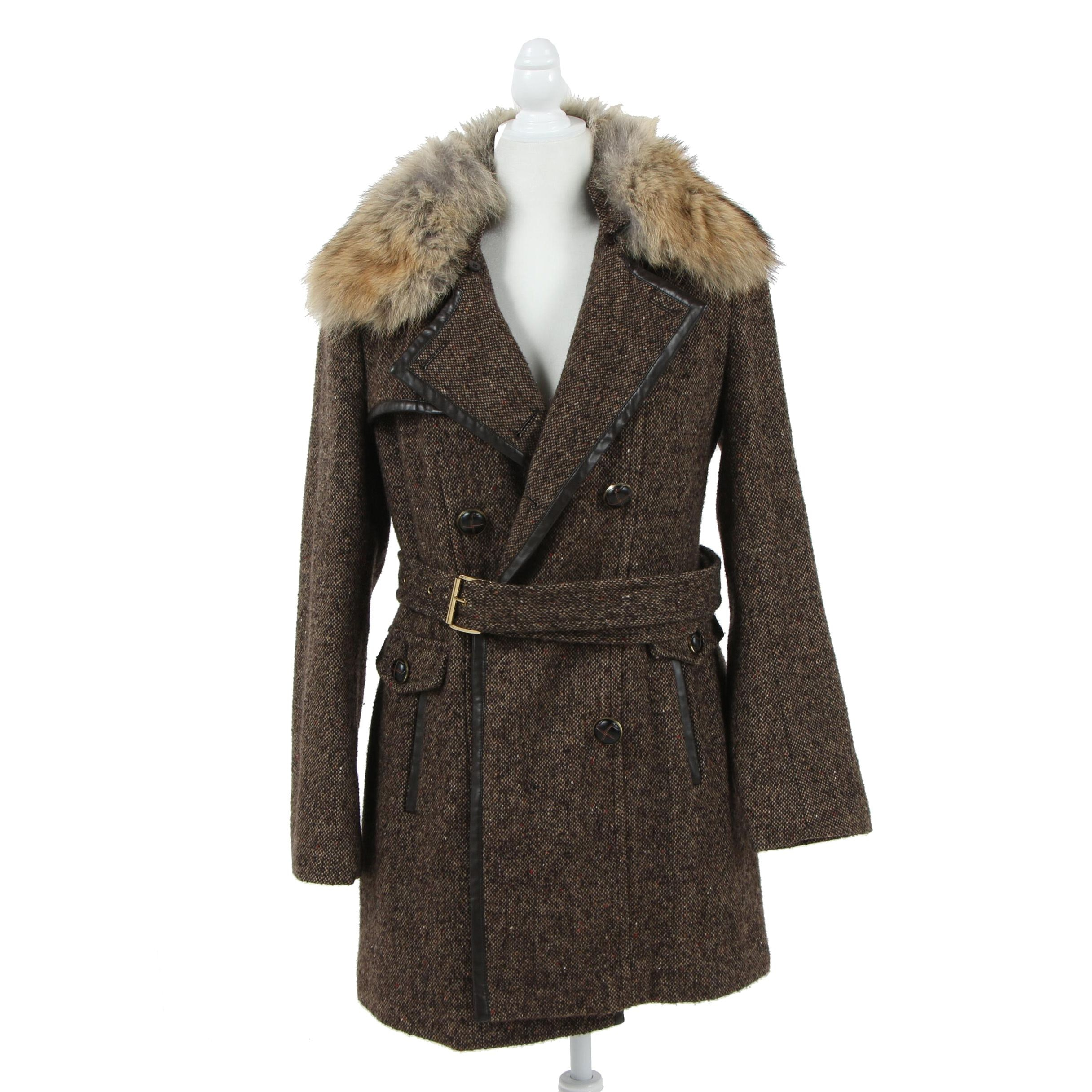 MICHAEL Michael Kors Double-Breasted Tweed Coat with Coyote Fur Collar