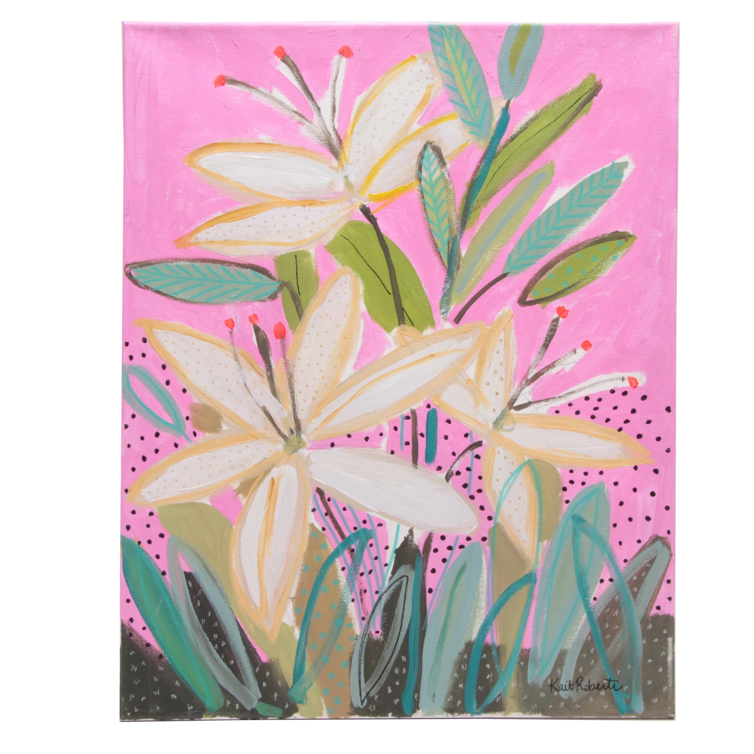 """Kait Roberts Acrylic Painting """"Let's Root for Each Other"""""""