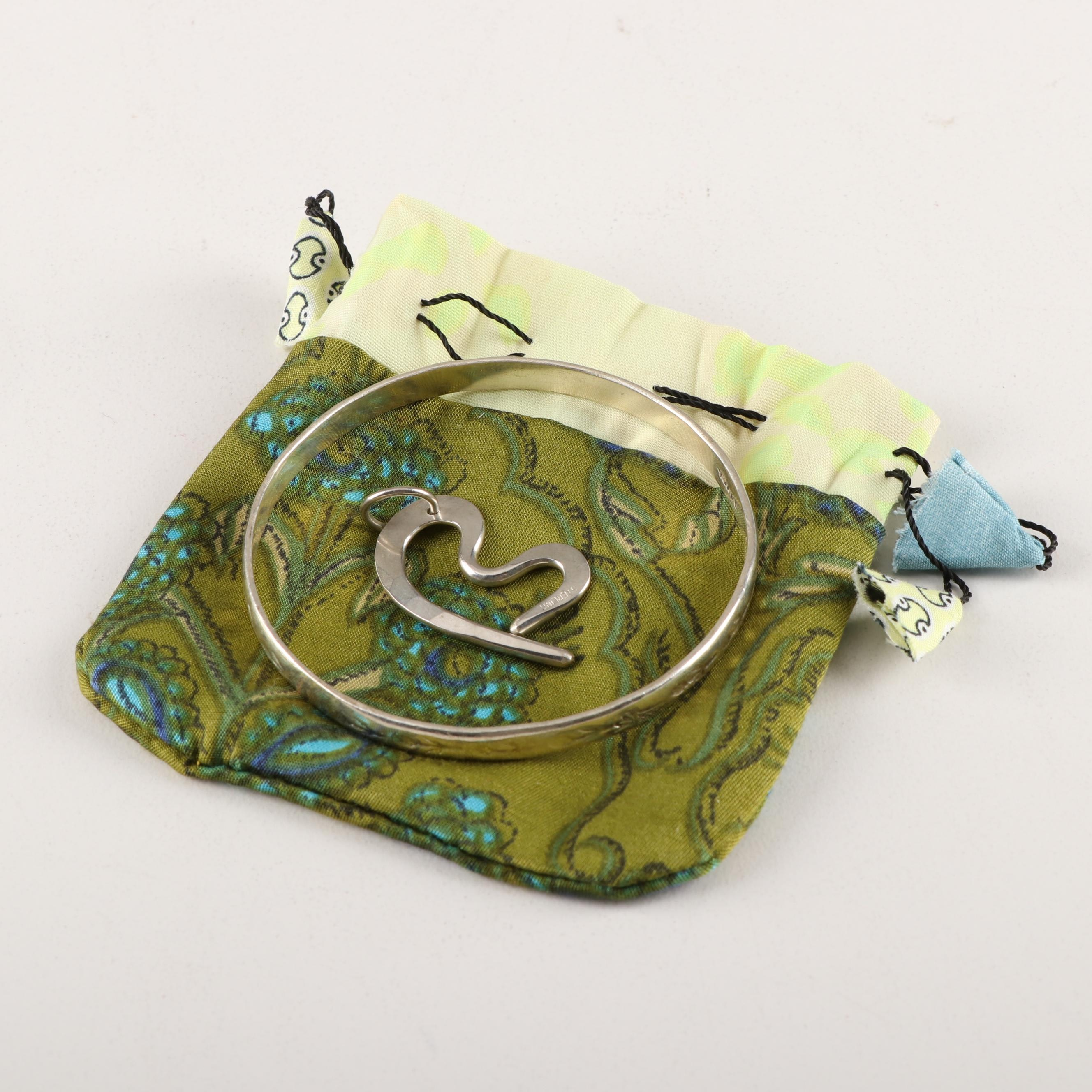 Sterling Silver Bangle Bracelet and Freeform Pendant