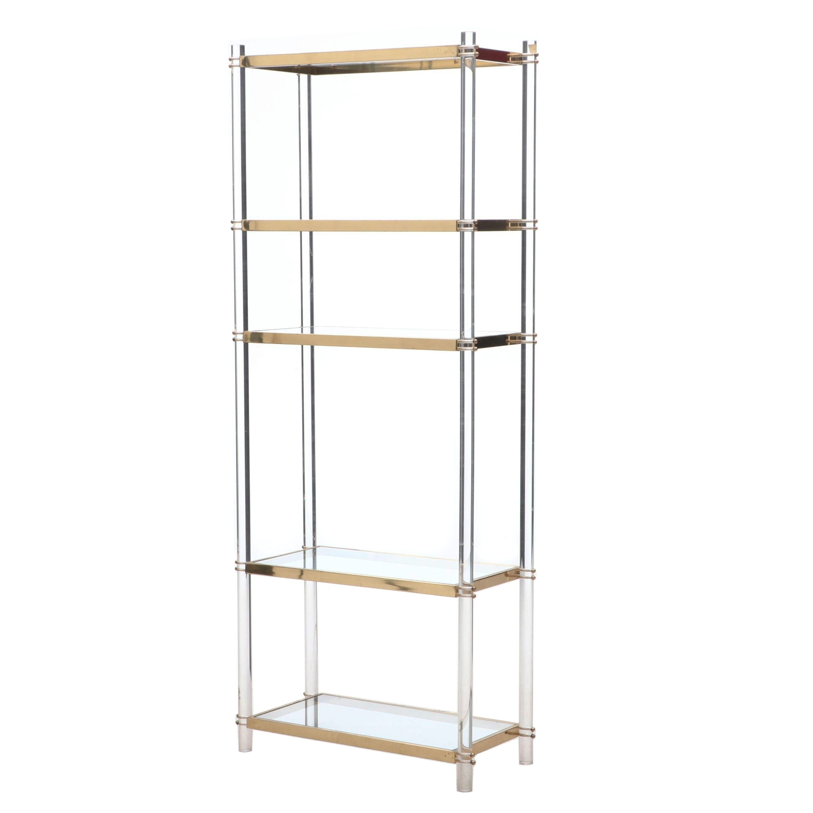 Acrylic and Brass Tone Shelving Unit