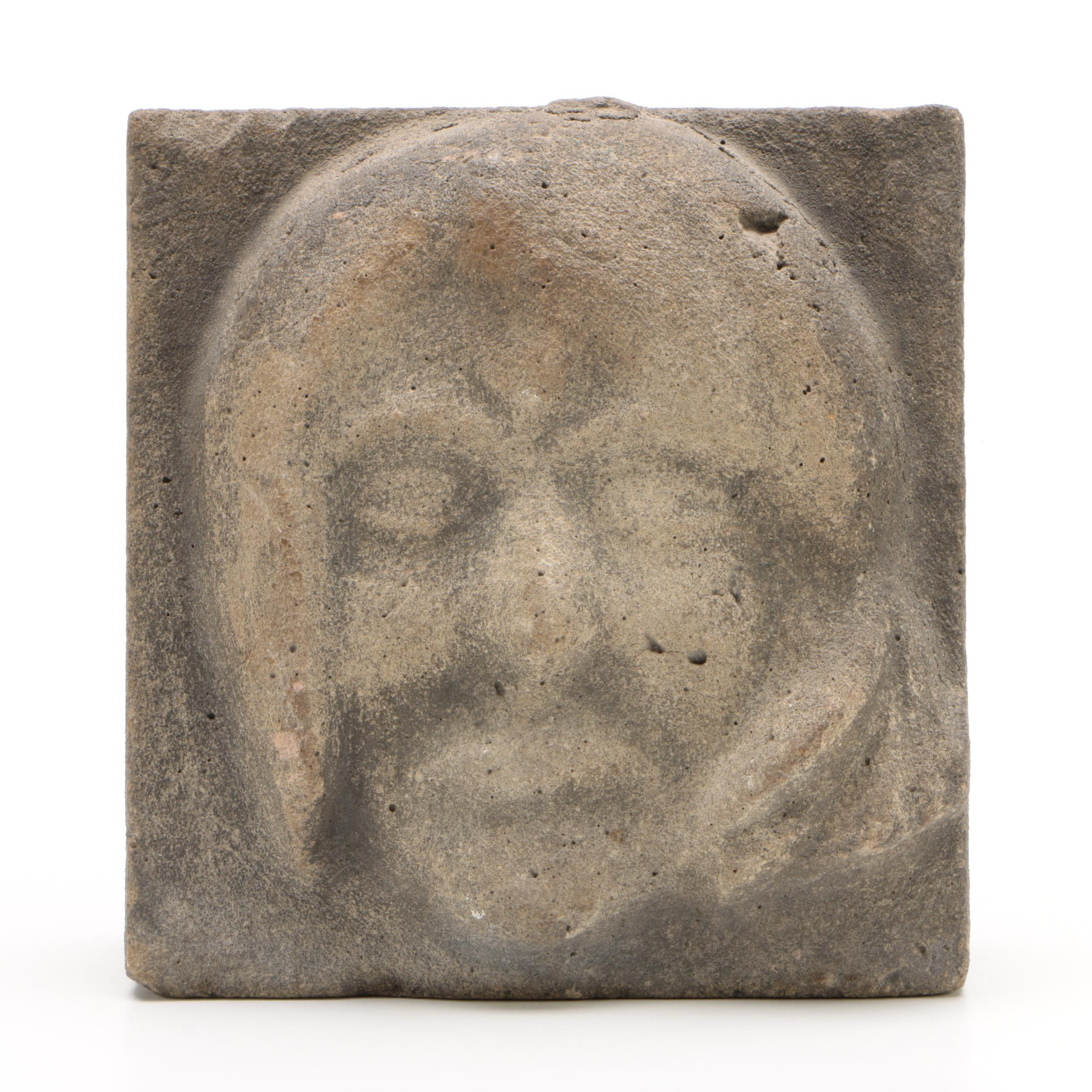 American Folk Art Relief-Carved Stone Face, First Half 20th Century