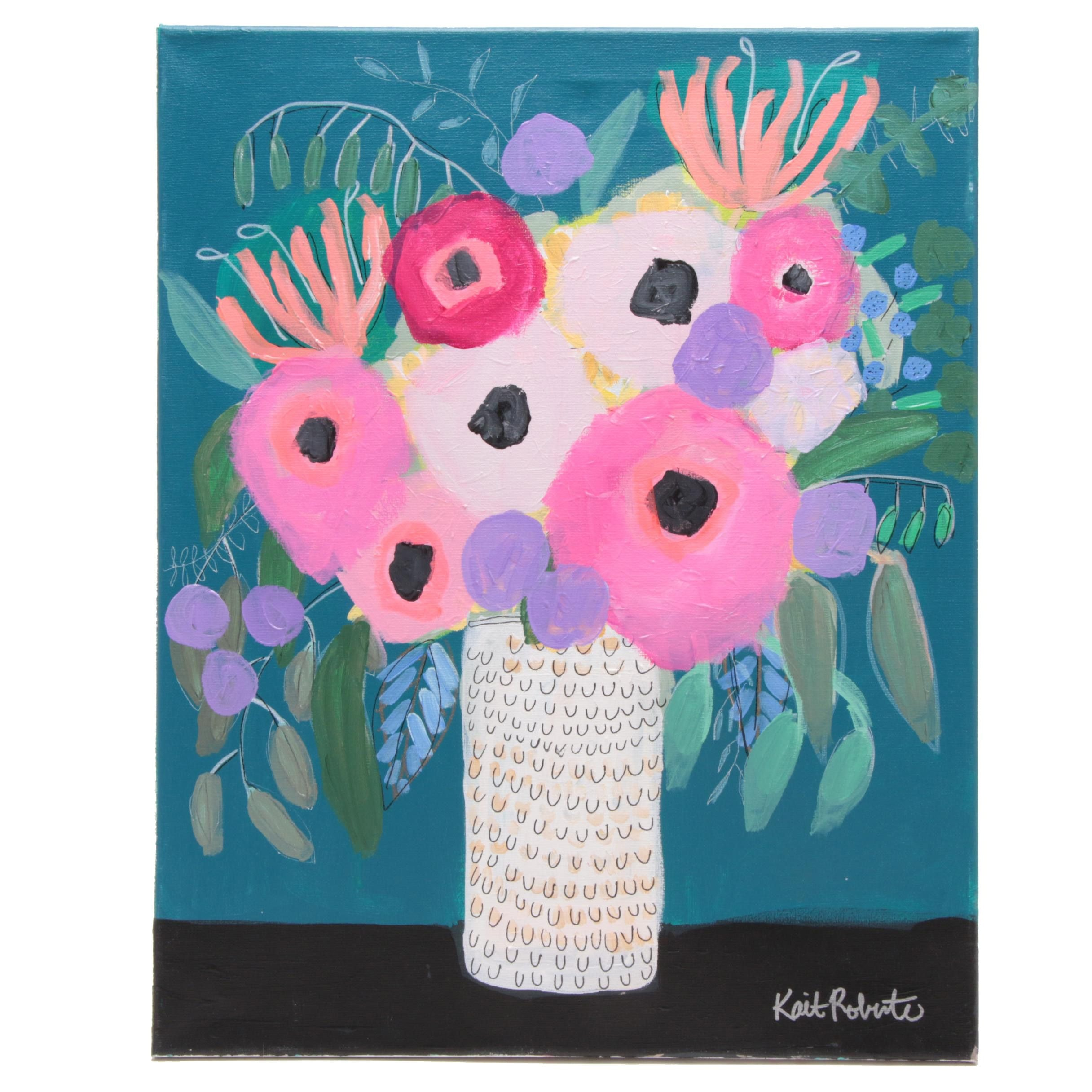 """Kait Roberts Acrylic Painting """"Honeysuckle and Such"""""""