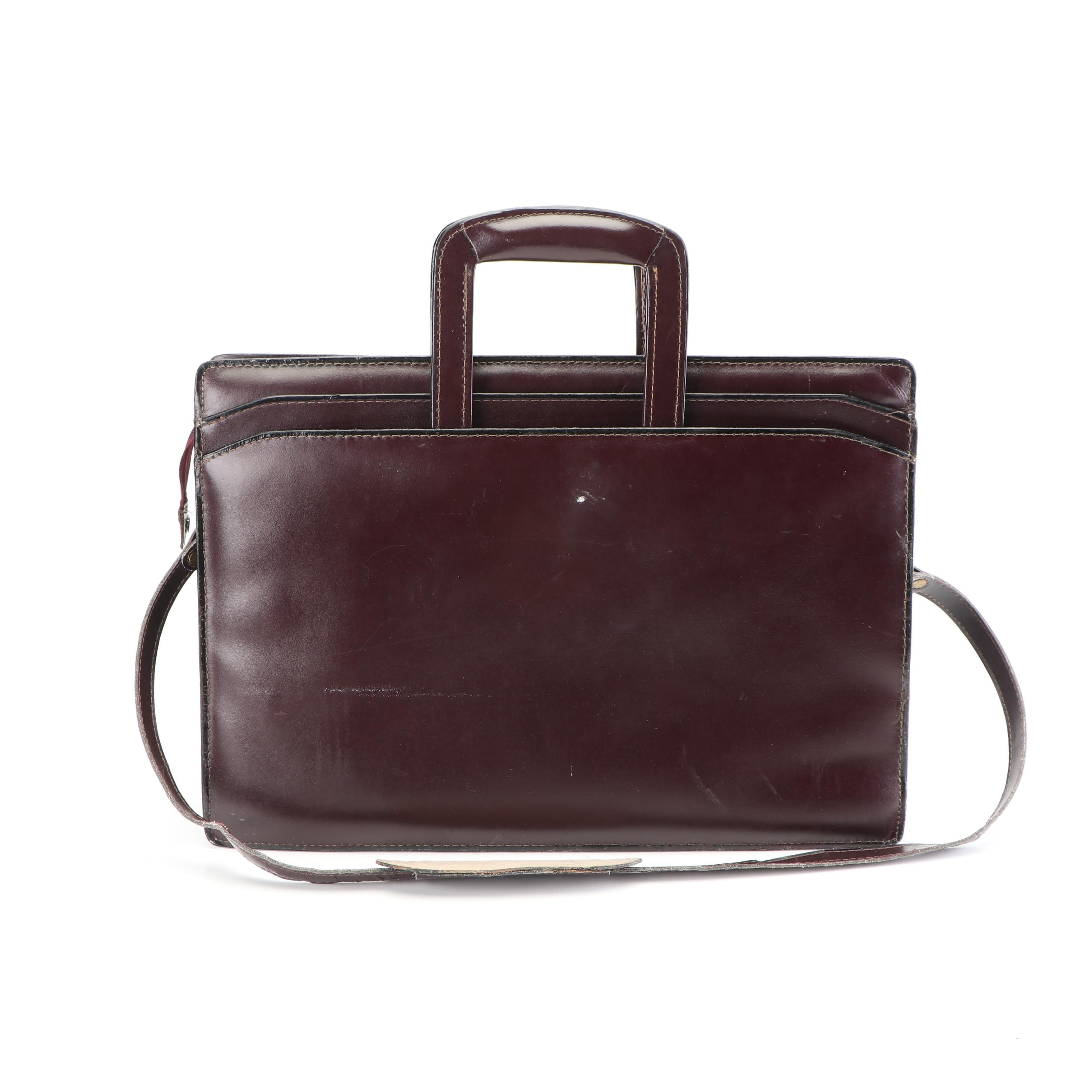 Mallard Oxblood Leather Executive Briefcase with Shoulder Strap