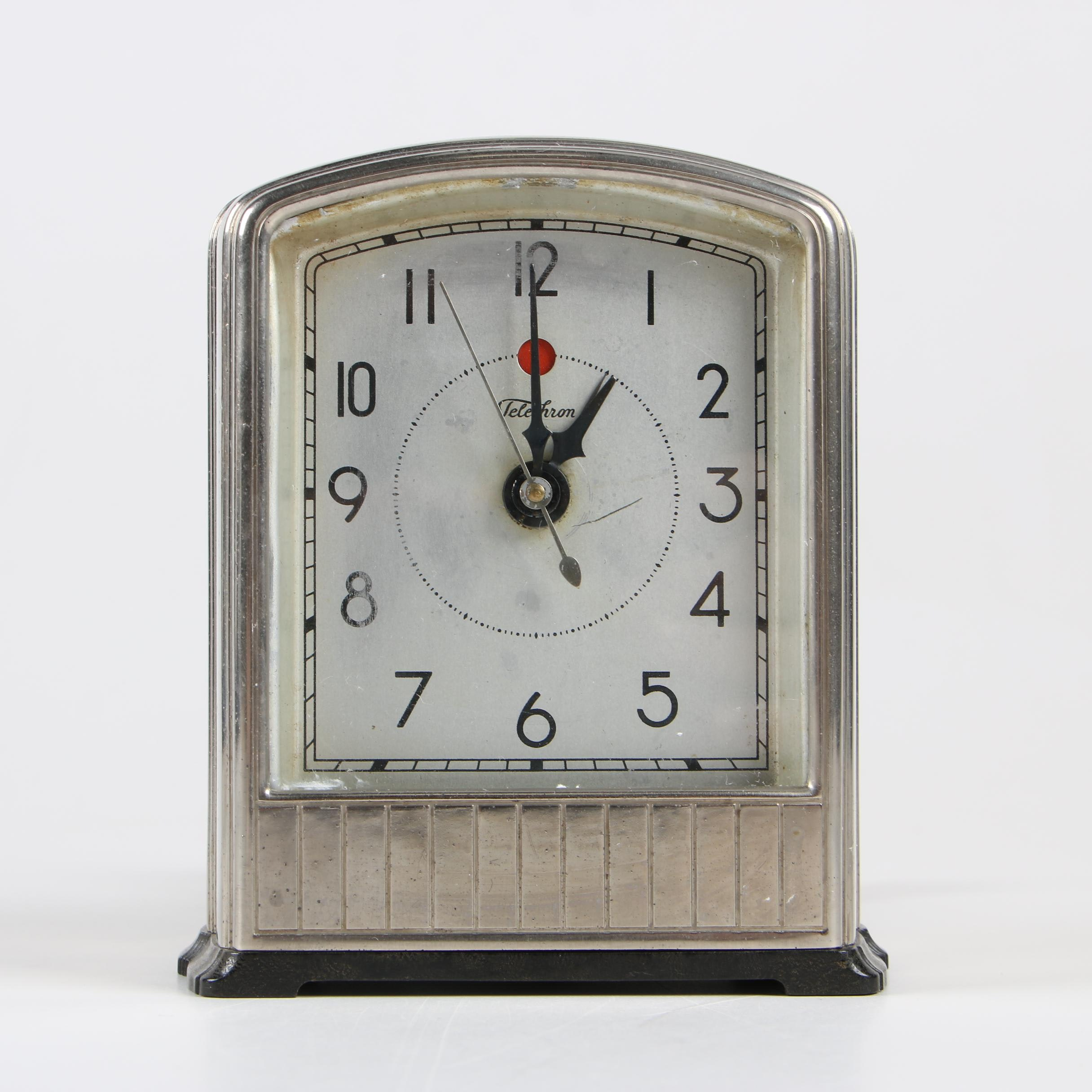 Telechron Dura-Silver-Alloy Electric Alarm Clock, Early 1930s