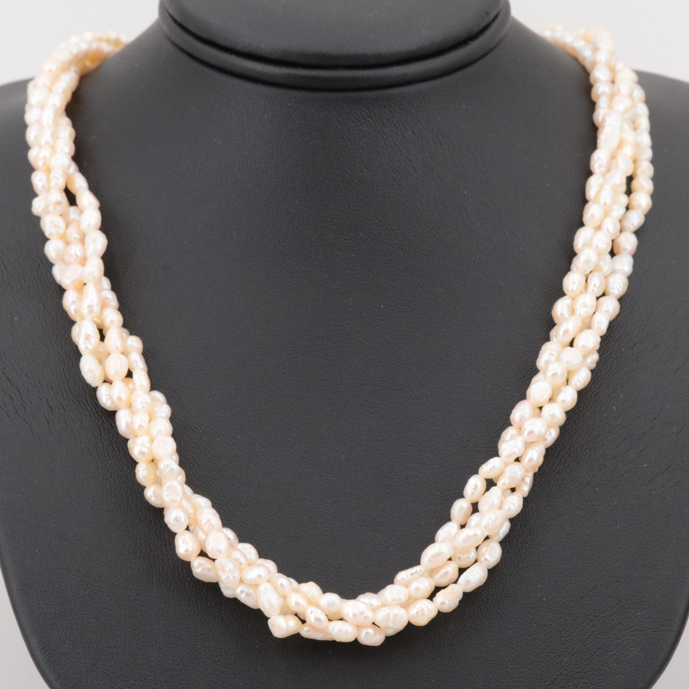 Gold Tone Four Strand Cultured Pearl Necklace