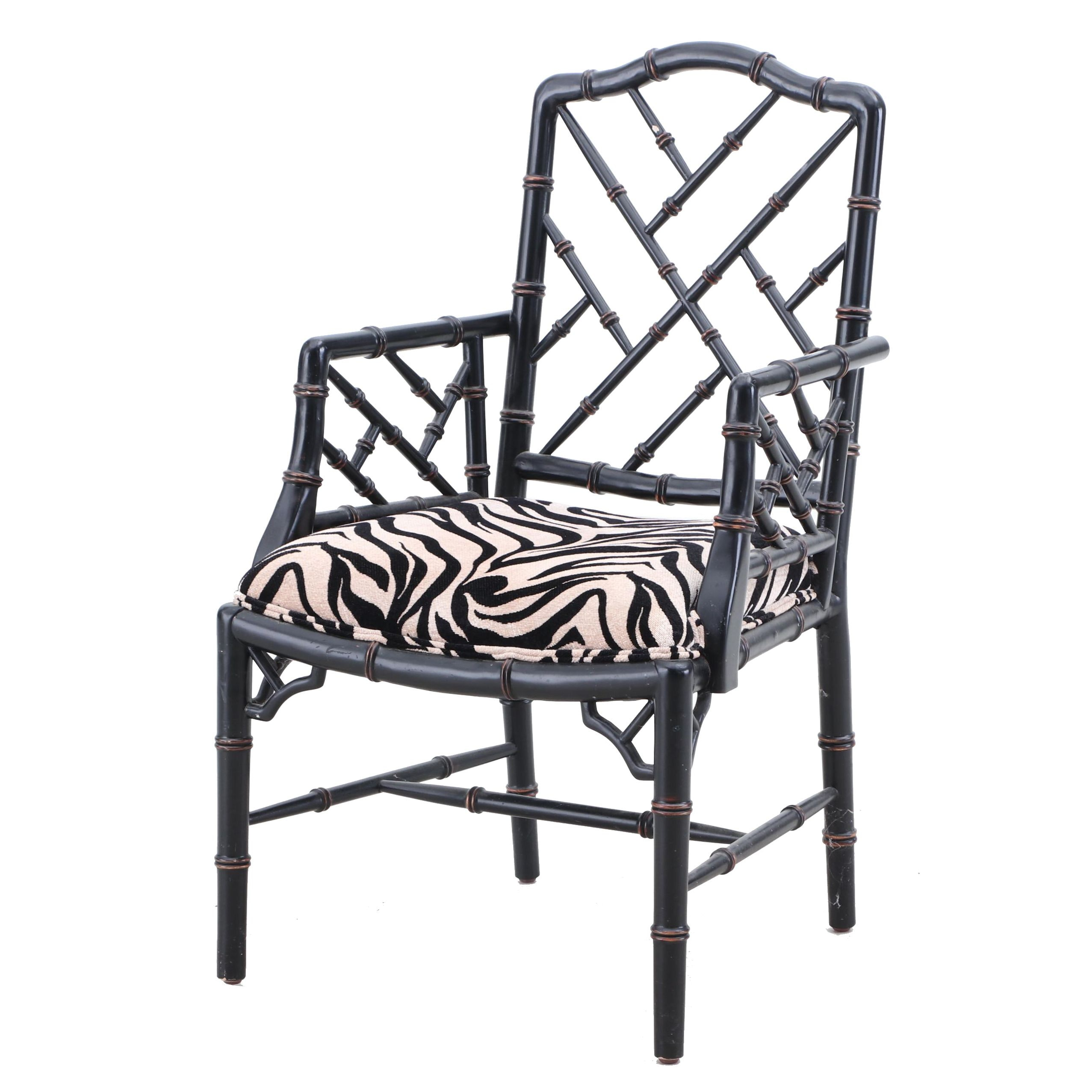 Chinese Chippendale Style Bamboo Armchair