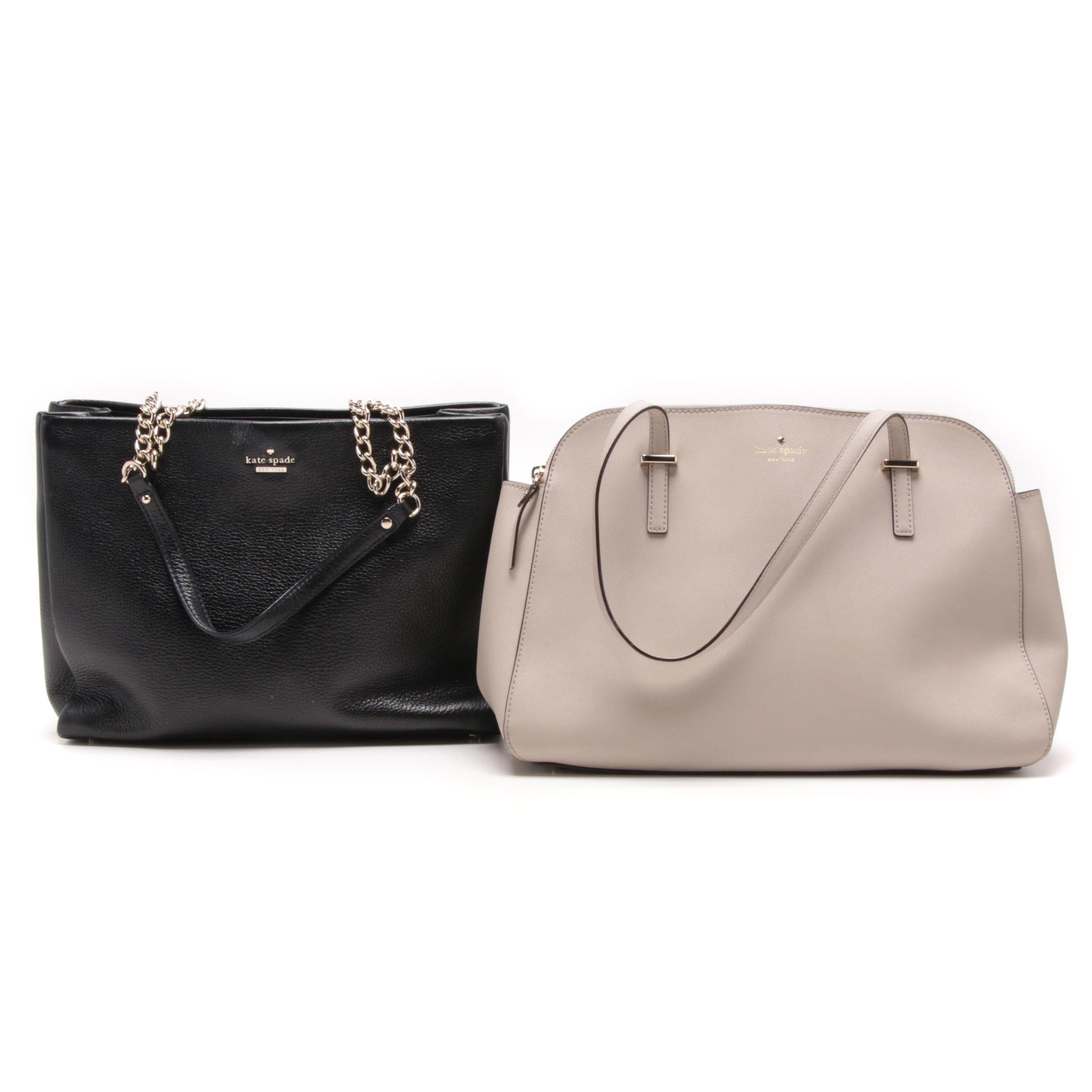 Kate Spade Gray Cedar Street Elissa Tote and Black Emerson Place Dewy Tote