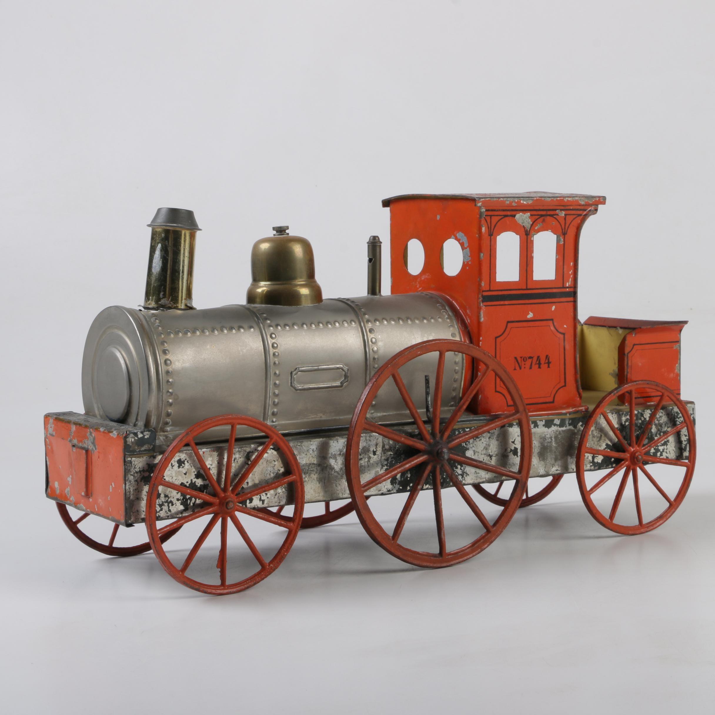 Vintage Tin Model Train Engine No. 744