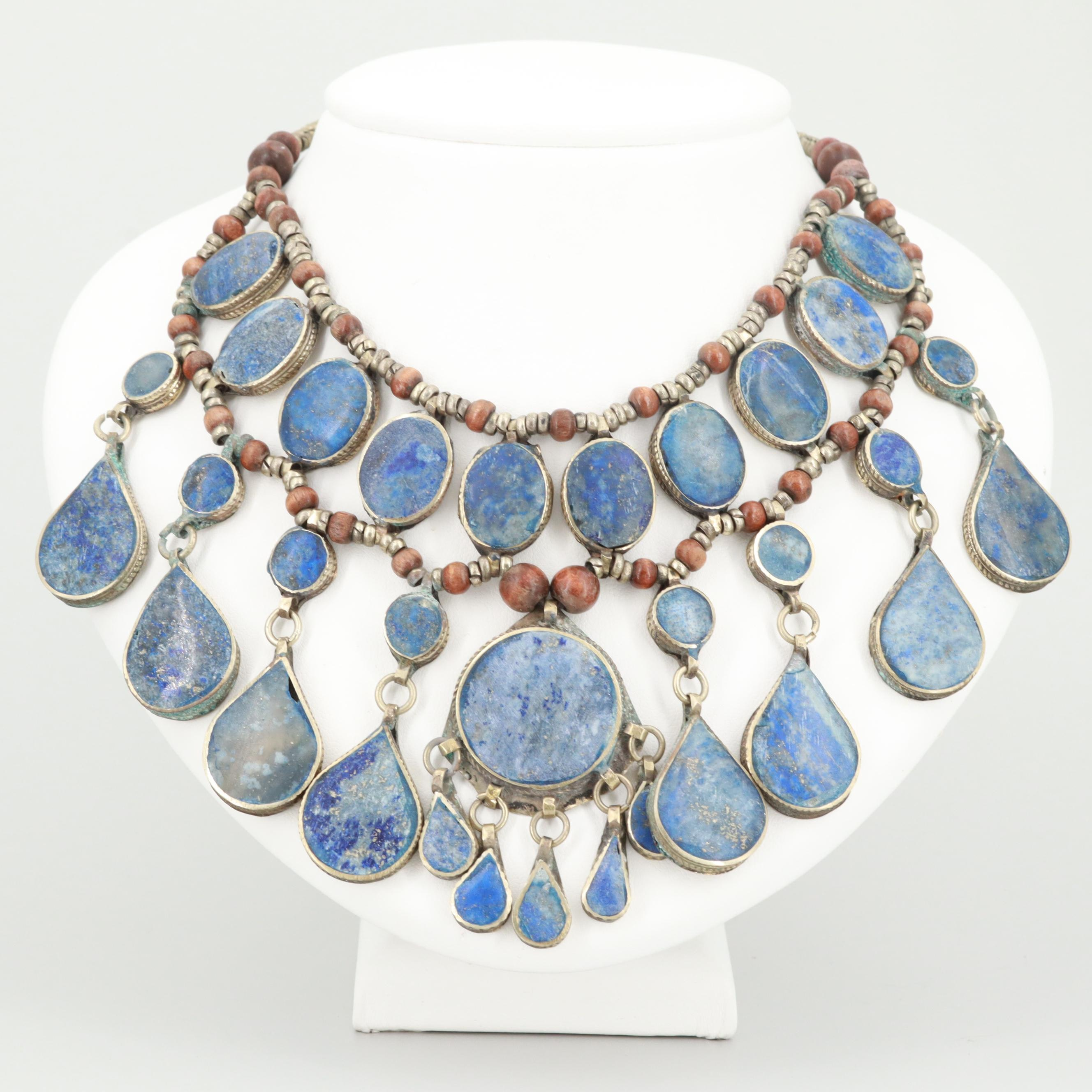 Middle Eastern Style Lapis Lazuli Dangles Necklace