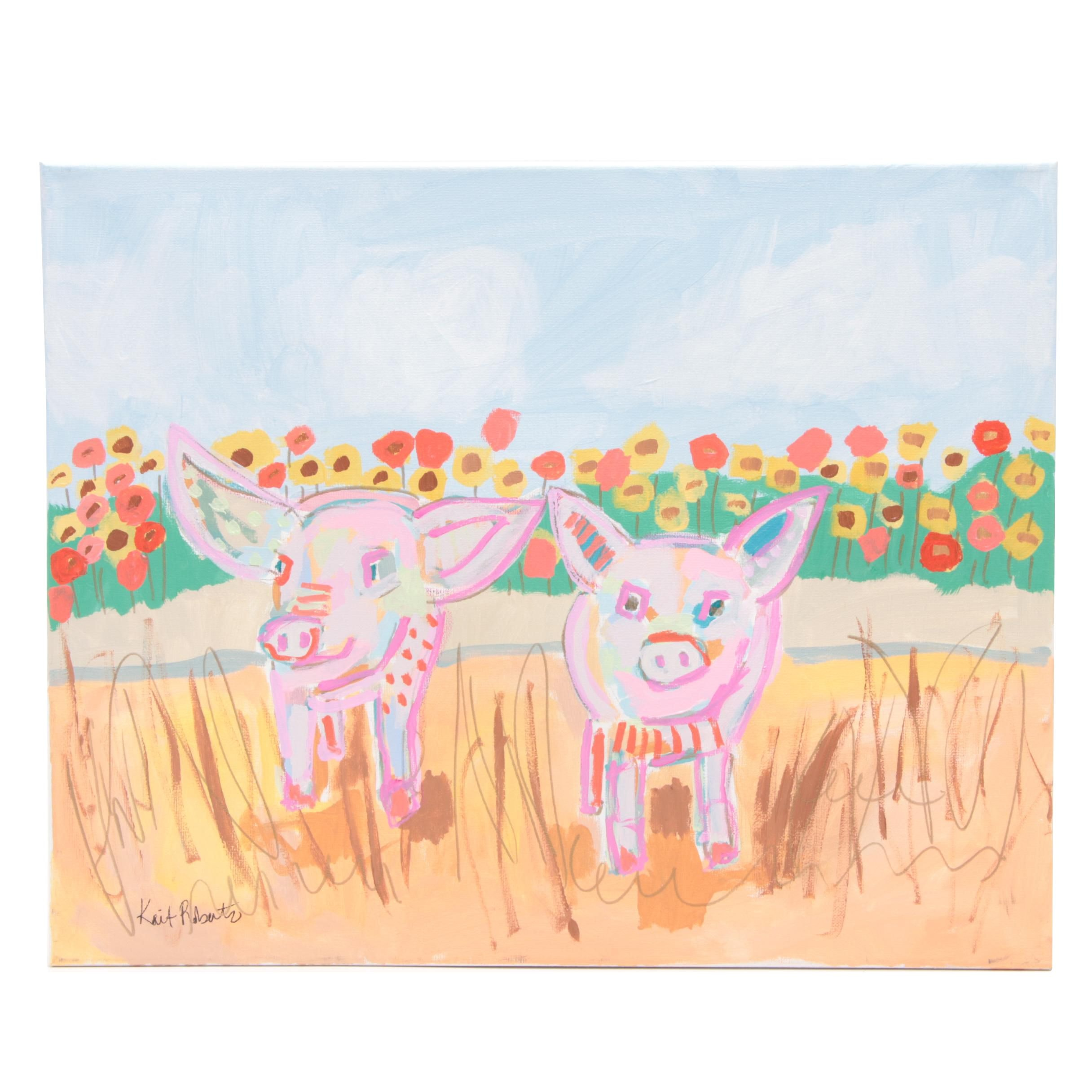 """Kait Roberts Acrylic Painting """"Two Little Piggies"""""""