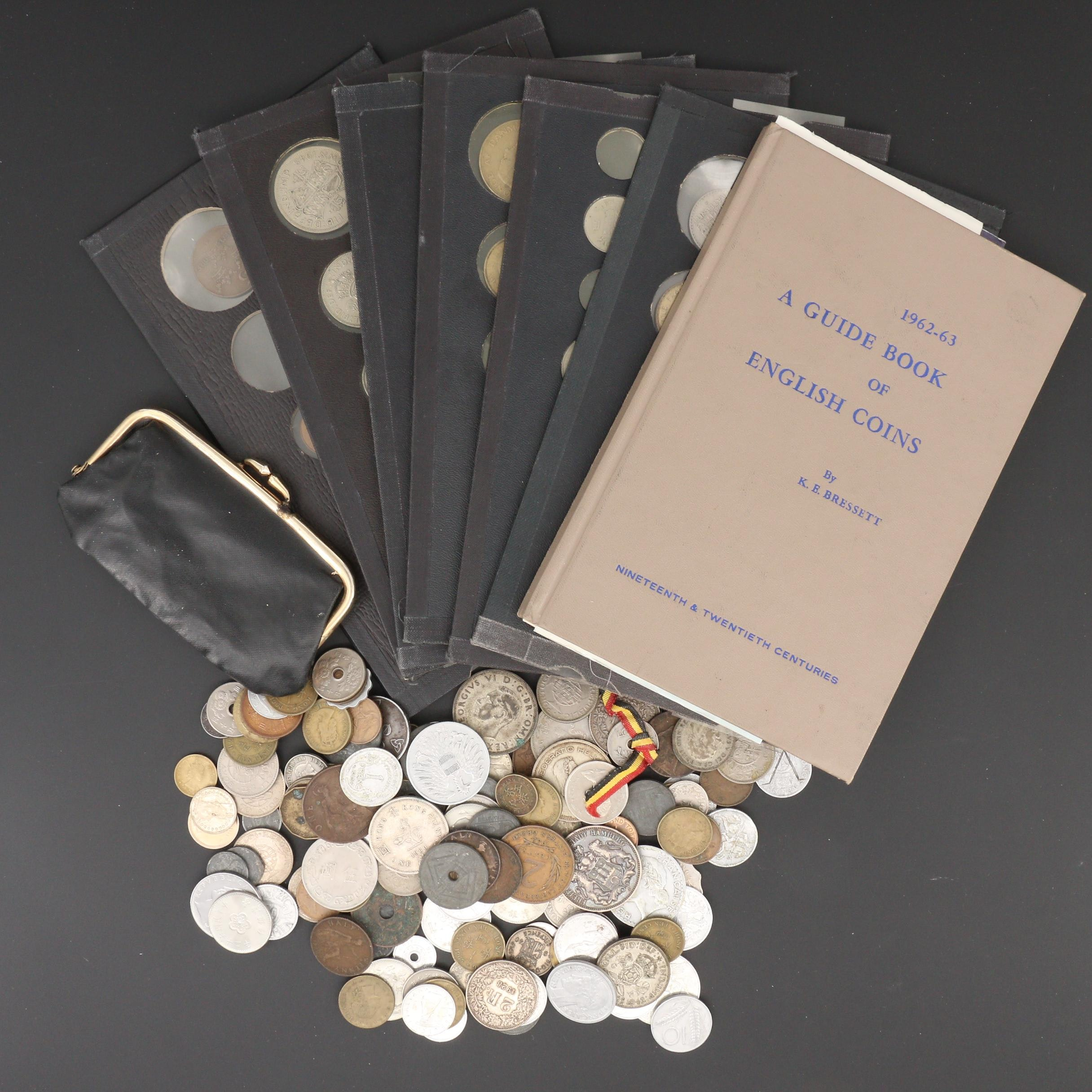 Group of Approximately 180 Foreign Coins Including a English Coin Guidebook