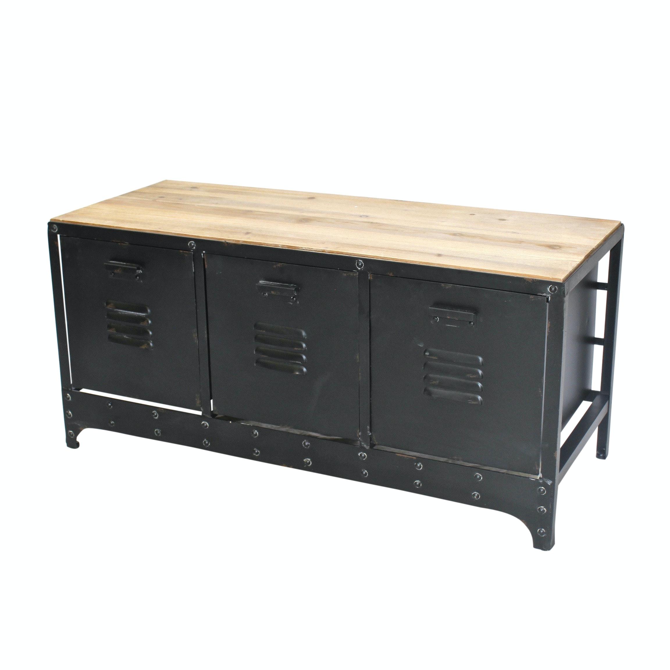 Three Storage Bin Locker Style Cabinet, Contemporary