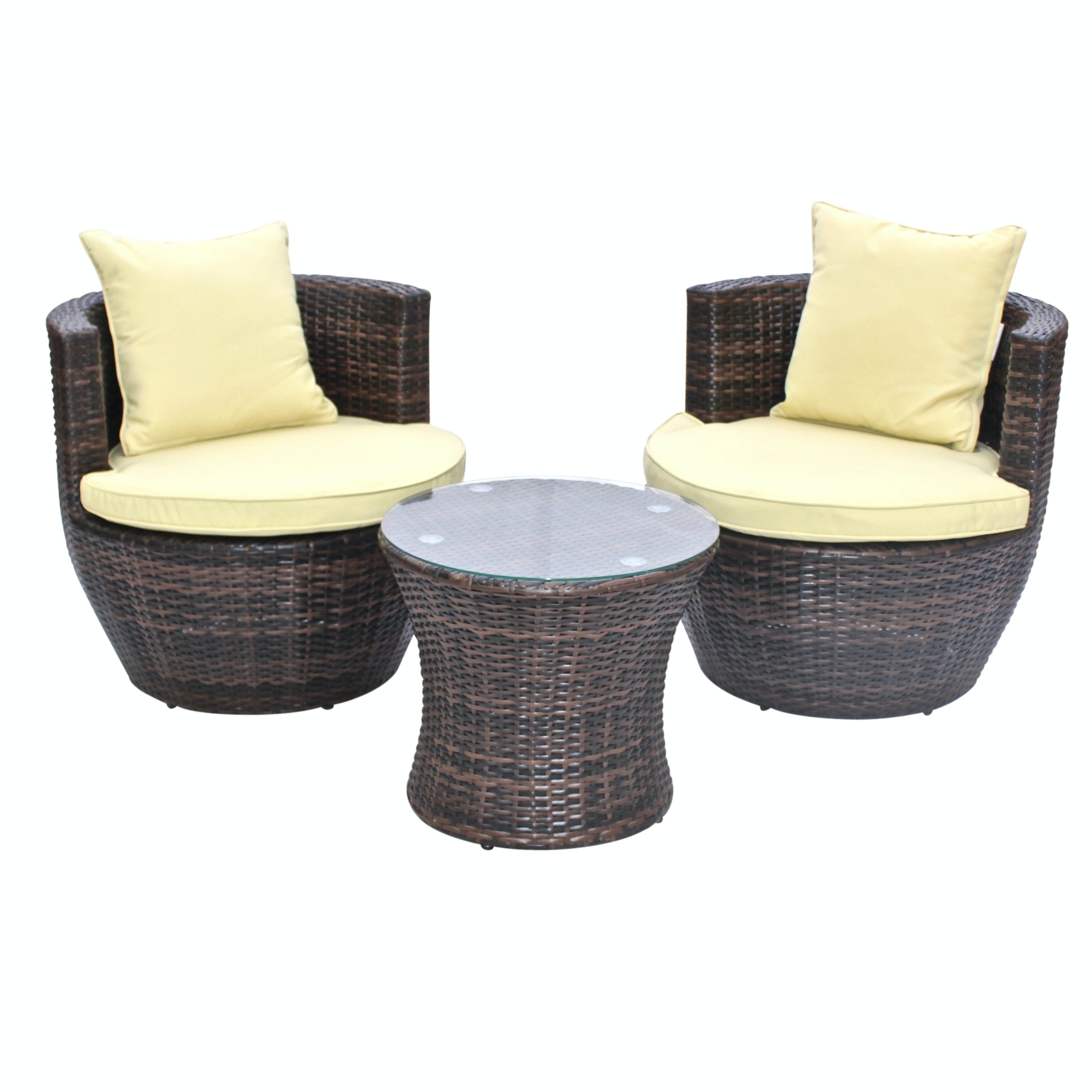 BestSign International Outdoor Rattan Chairs and Side Table