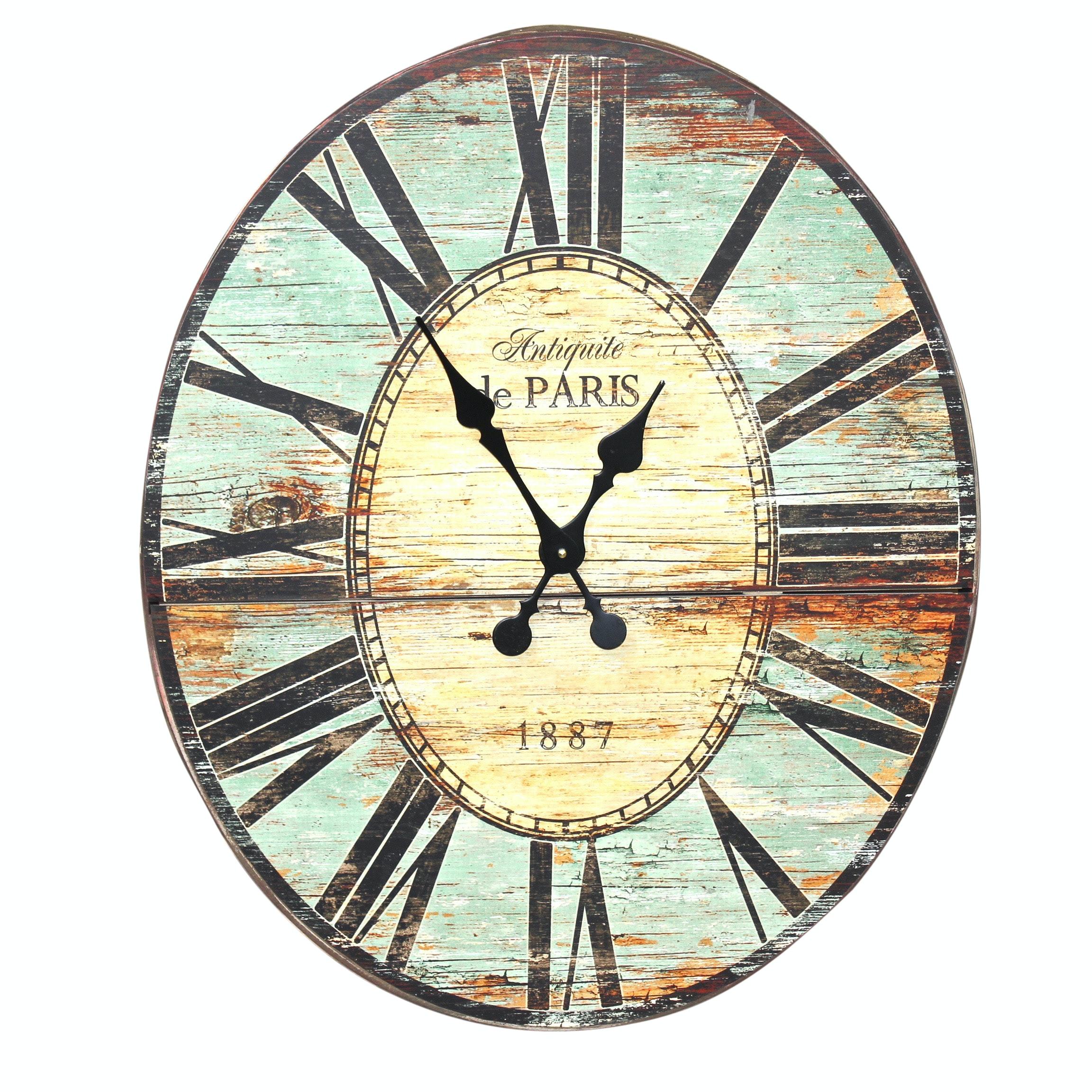 "Creative Co-Op Wood ""Antiquite de Paris"" Wall Clock, Contemporary"