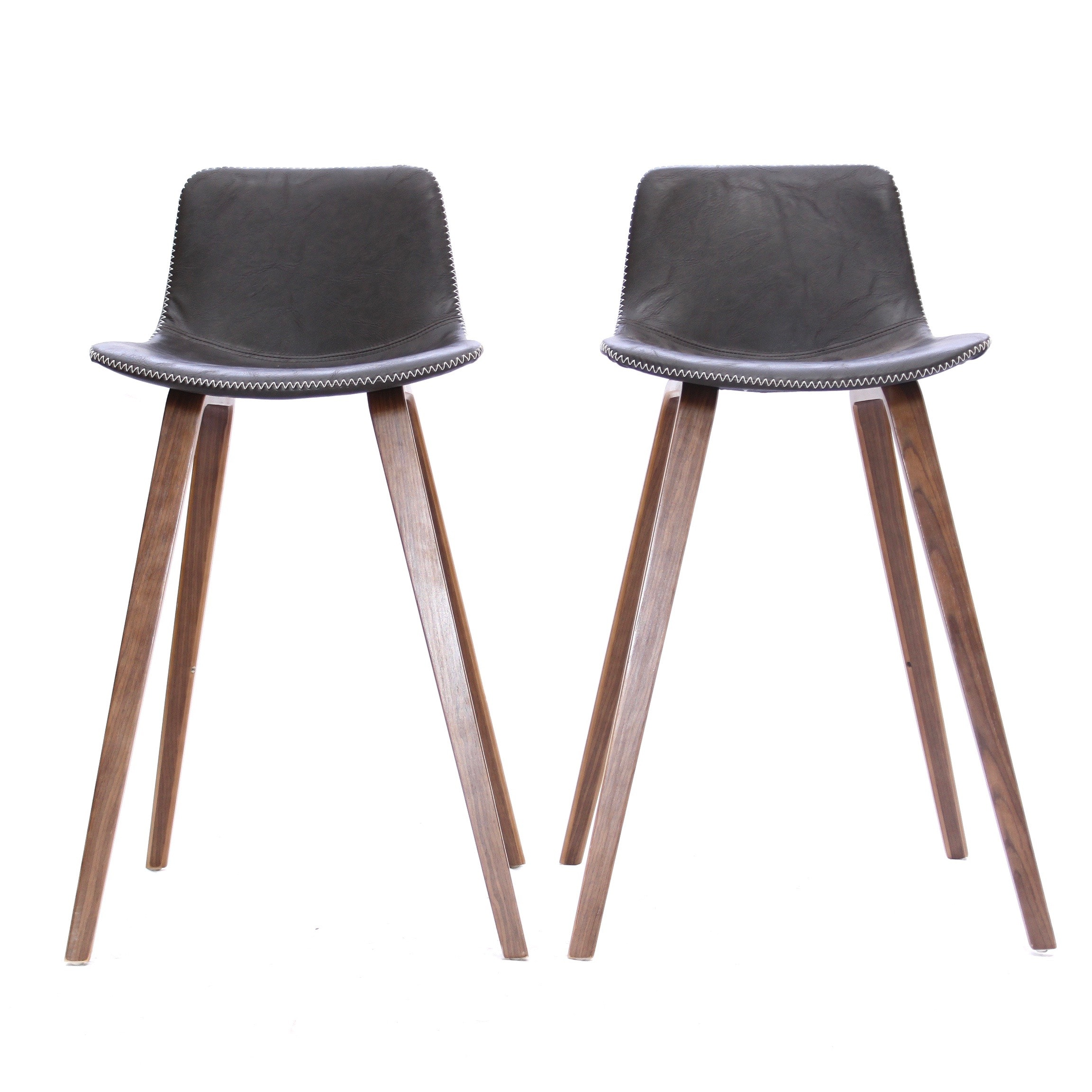 Two Leather Mid-Century Modern Style Bar Stools, Contemporary