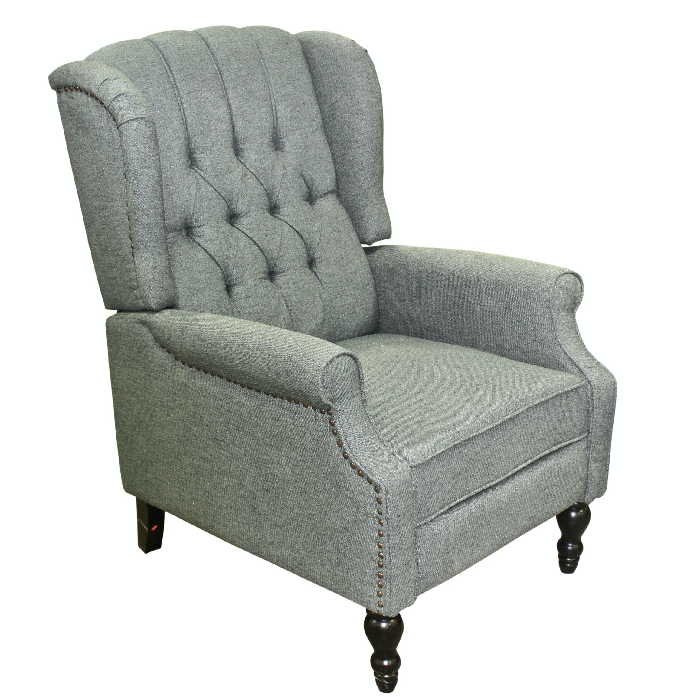 Tufted Reclining Arm Chair With Studded Accents, Contemporary
