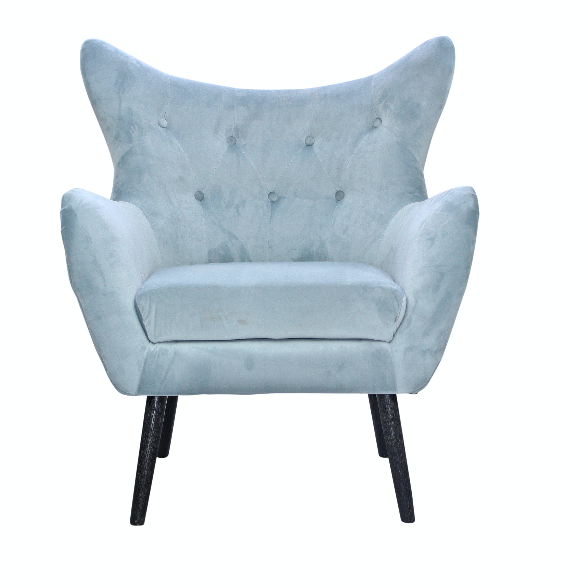 Noble House Home Tufted Light Blue Wing Back Arm Chair, Contemporary