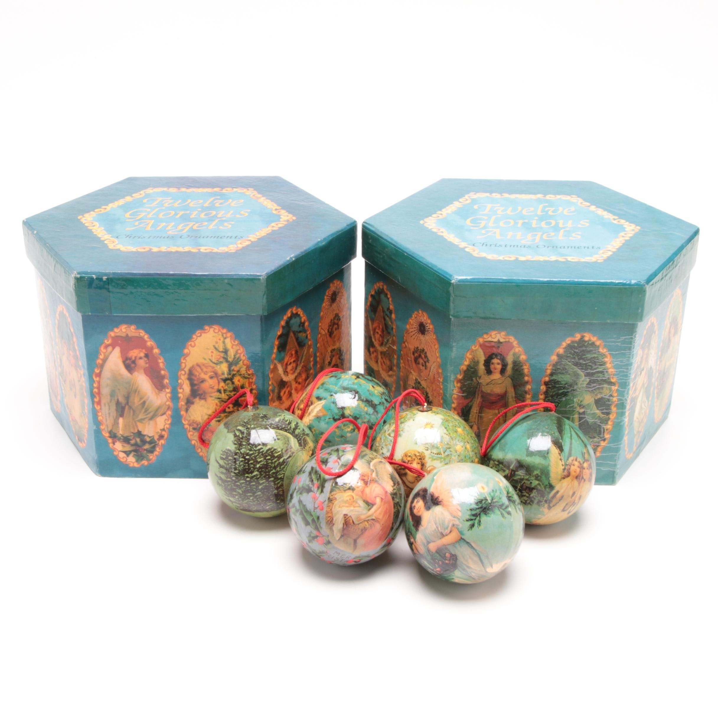 """Twelve Glorious Angels"" Decoupage Christmas Ornaments"