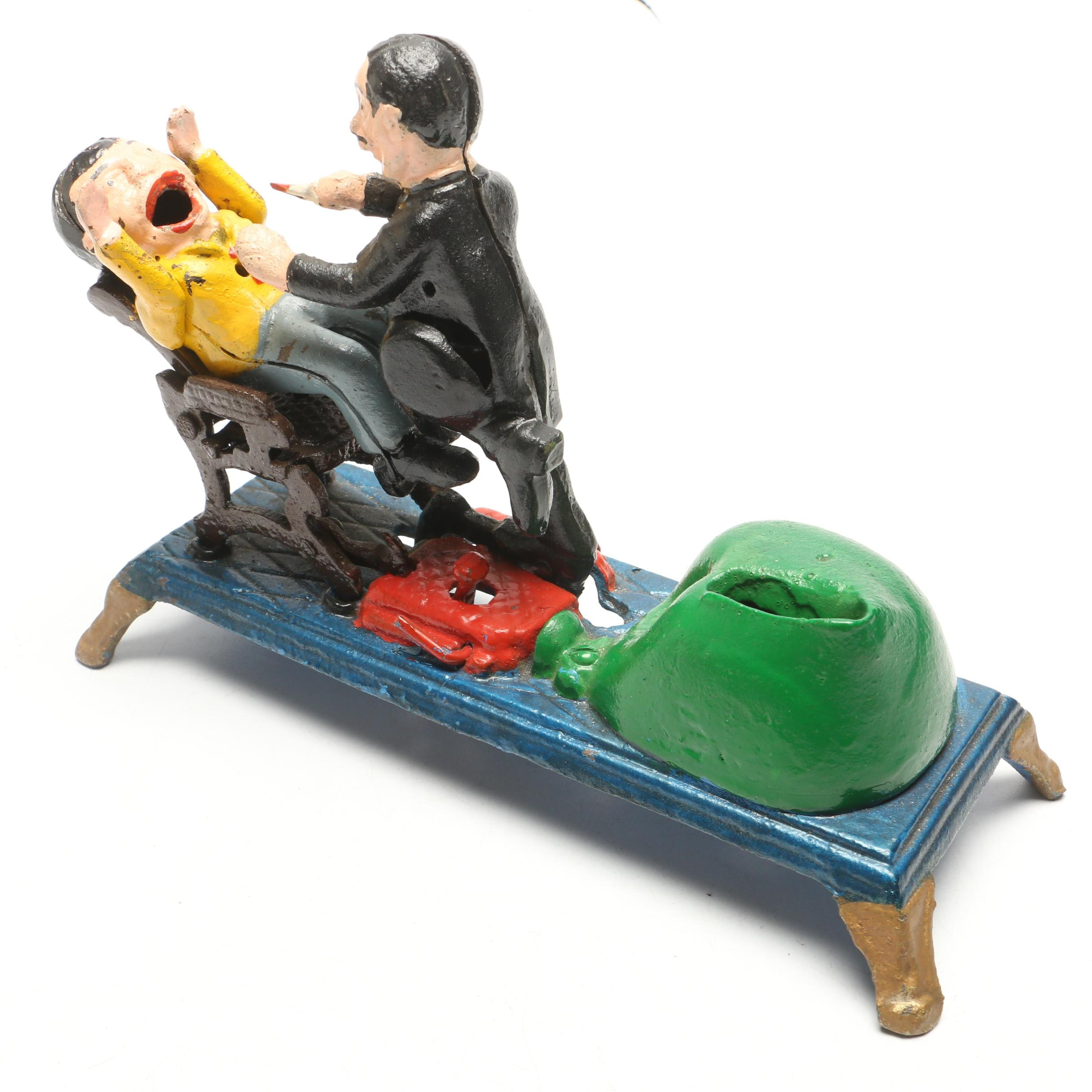 Reproduction Cast Iron Mechanical Dentist Coin Bank