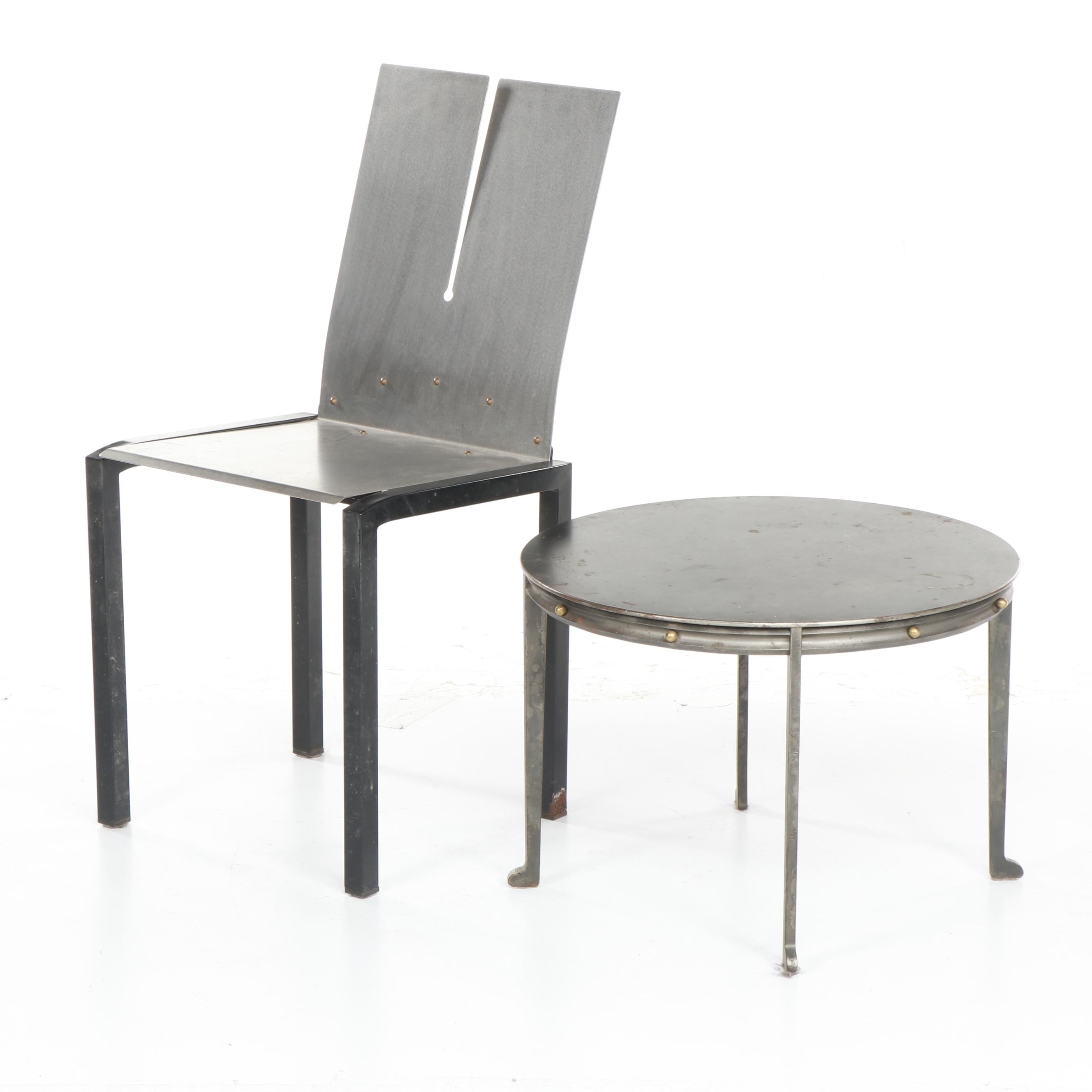 Modern Style Stainless Steel chair and Iron Accent Table with Brass Accents