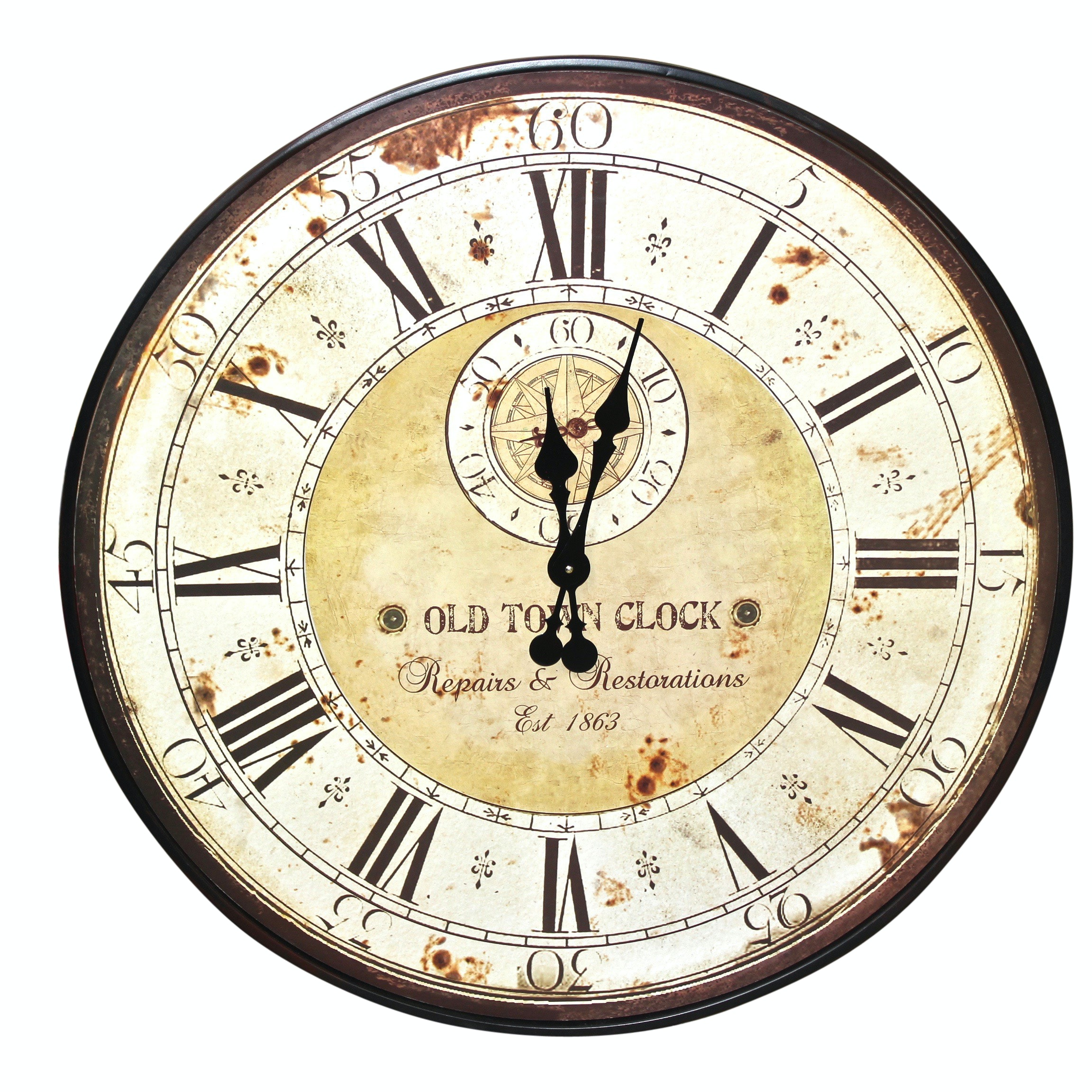 """Distressed """"Old Town"""" Wall Clock Decor, Contemporary"""