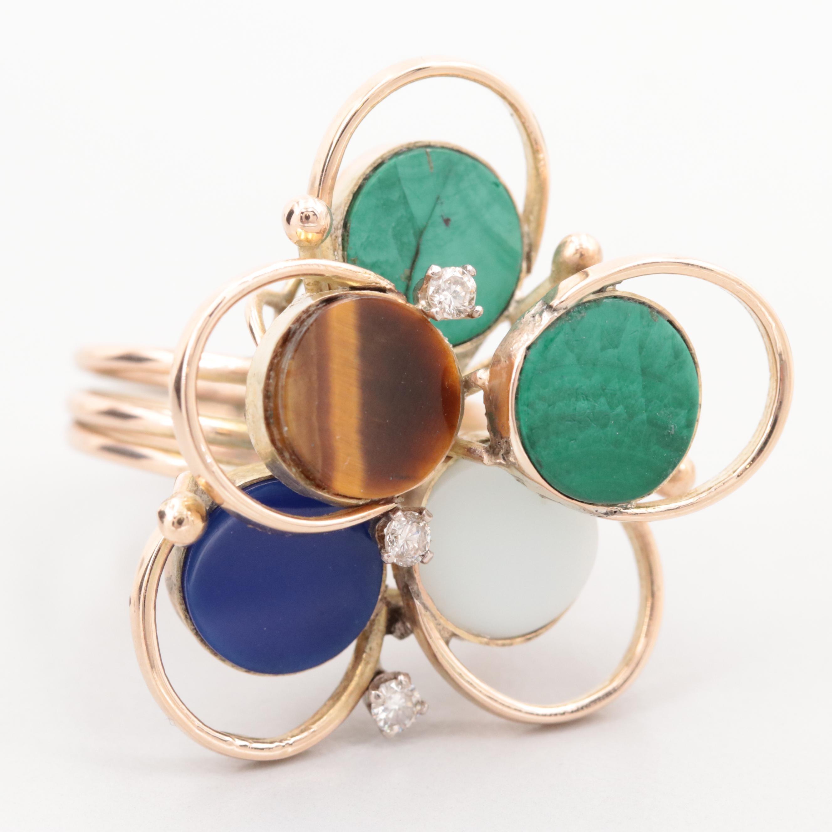 Vintage 14K Yellow Gold Diamond, Malachite, Tiger's Eye and Glass Ring