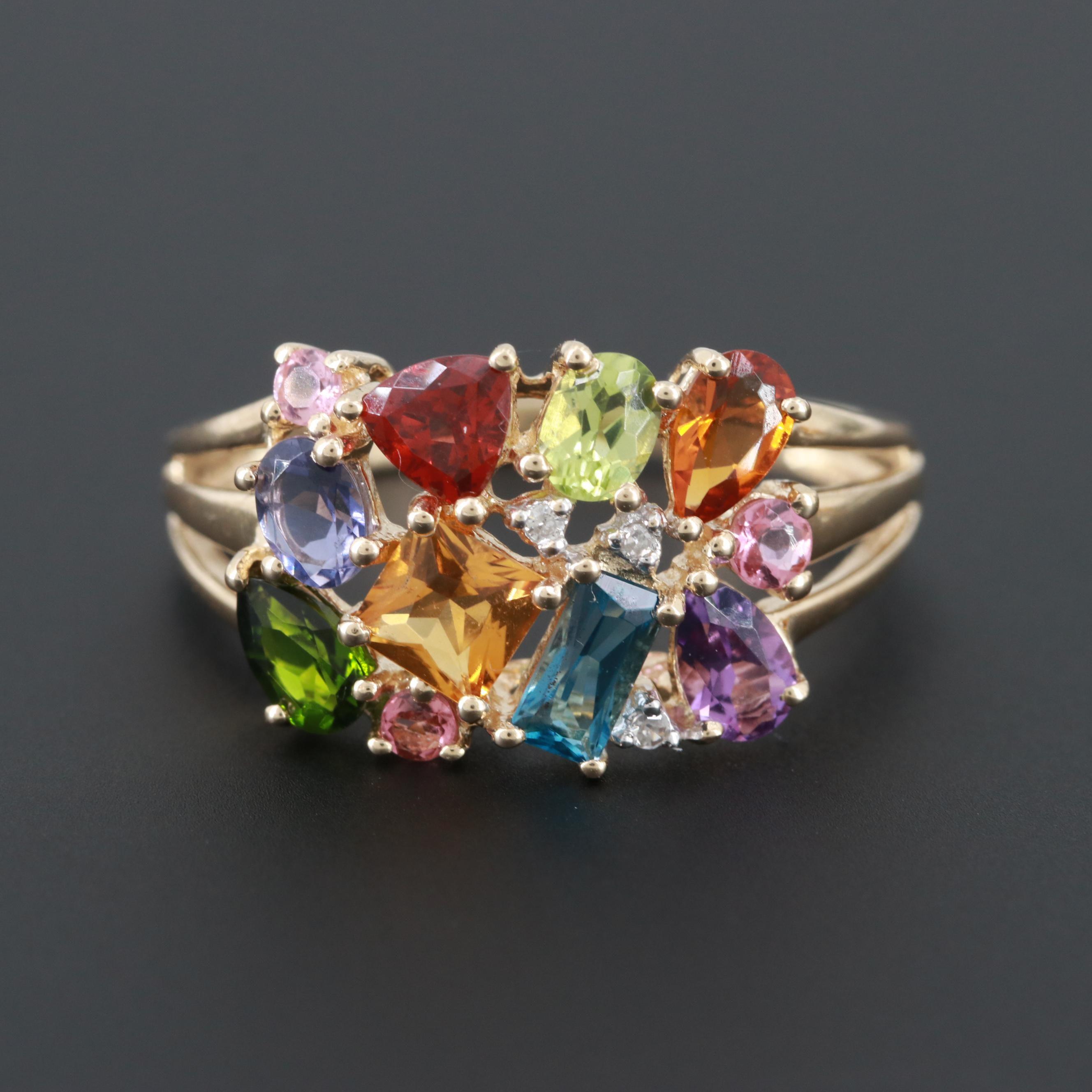 14K Yellow Gold Diamond, Tanzanite and Gemstone Ring
