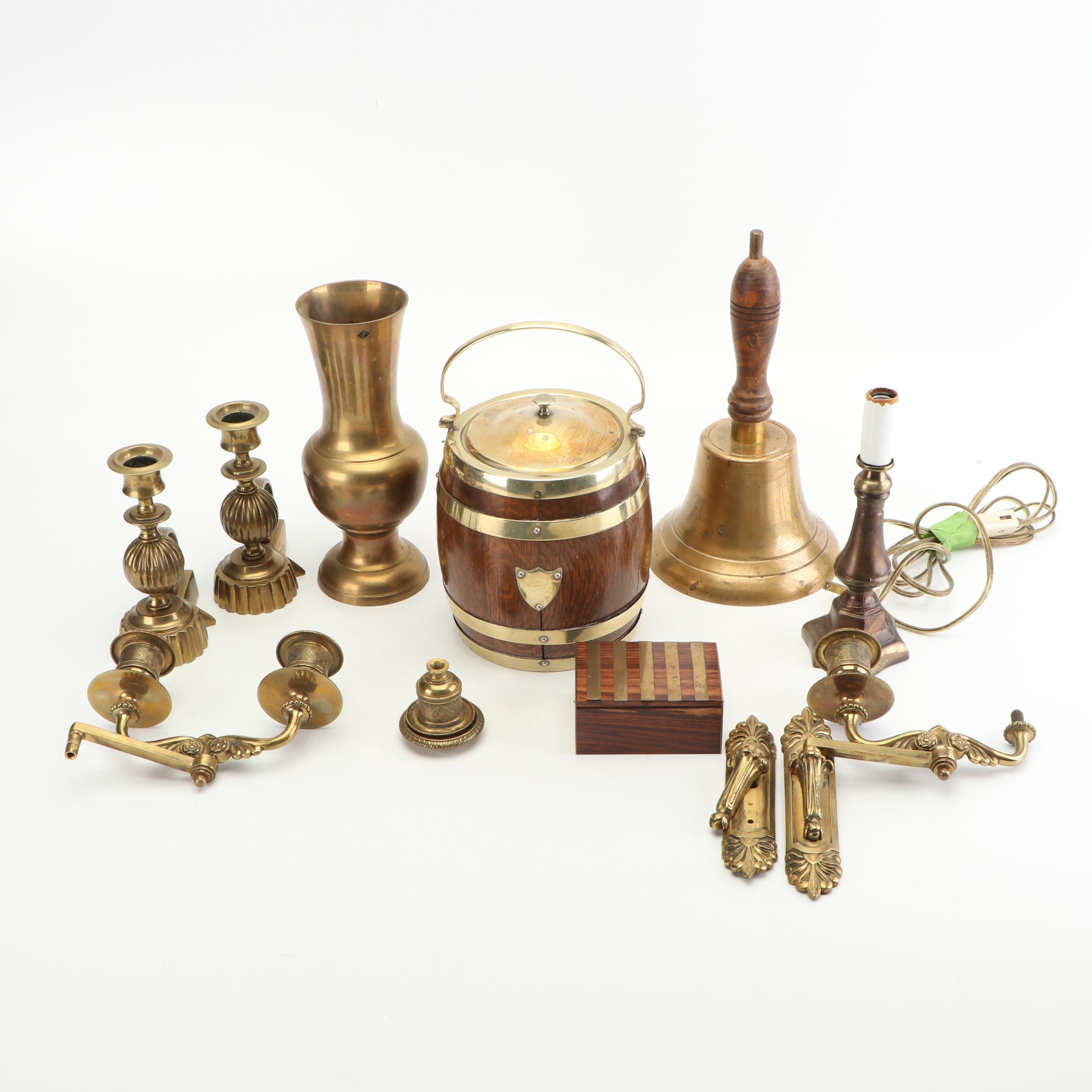 Brass Home Décor including School Bell and Candle Sconces