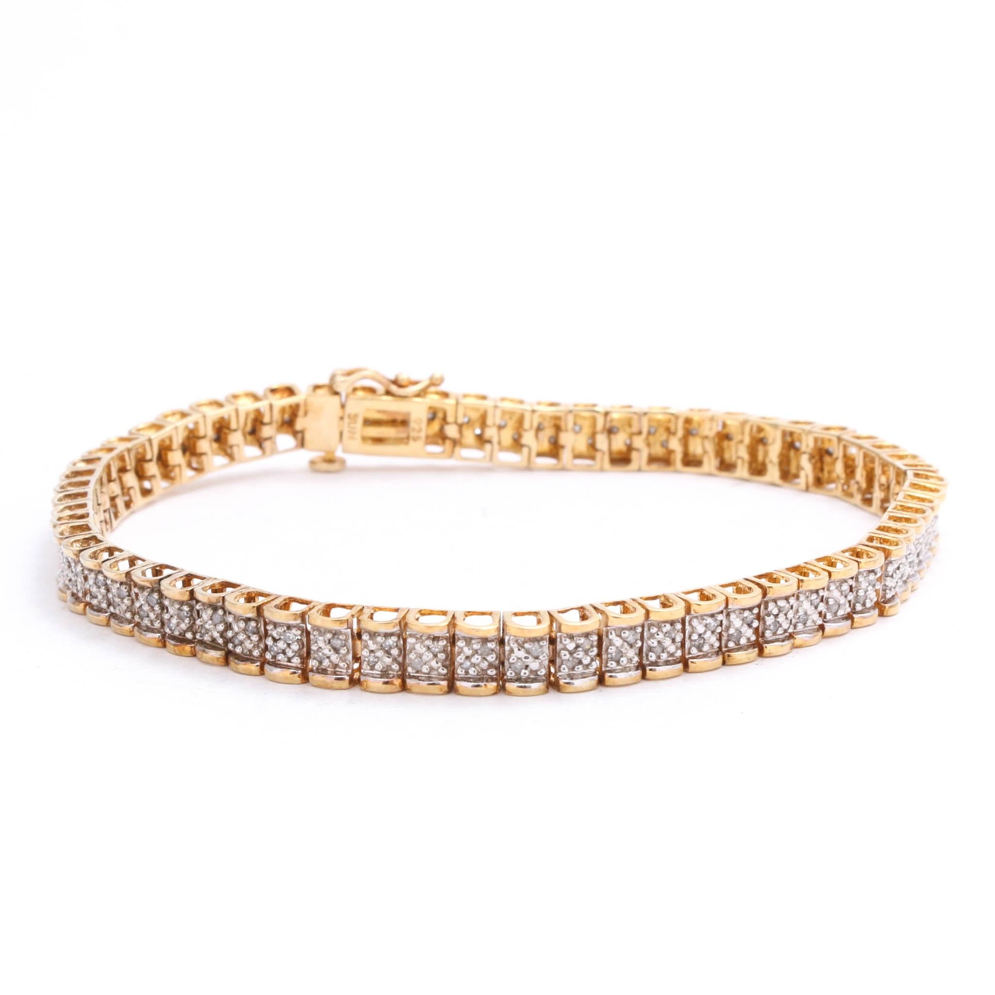 Gold Wash on Sterling Silver Diamond Bracelet