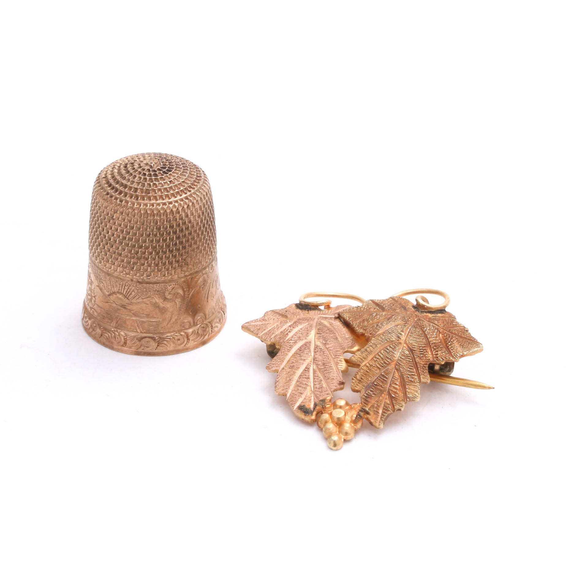 Vintage 18K Rose and Yellow Gold Leaf Brooch and 10K Yellow Gold Thimble