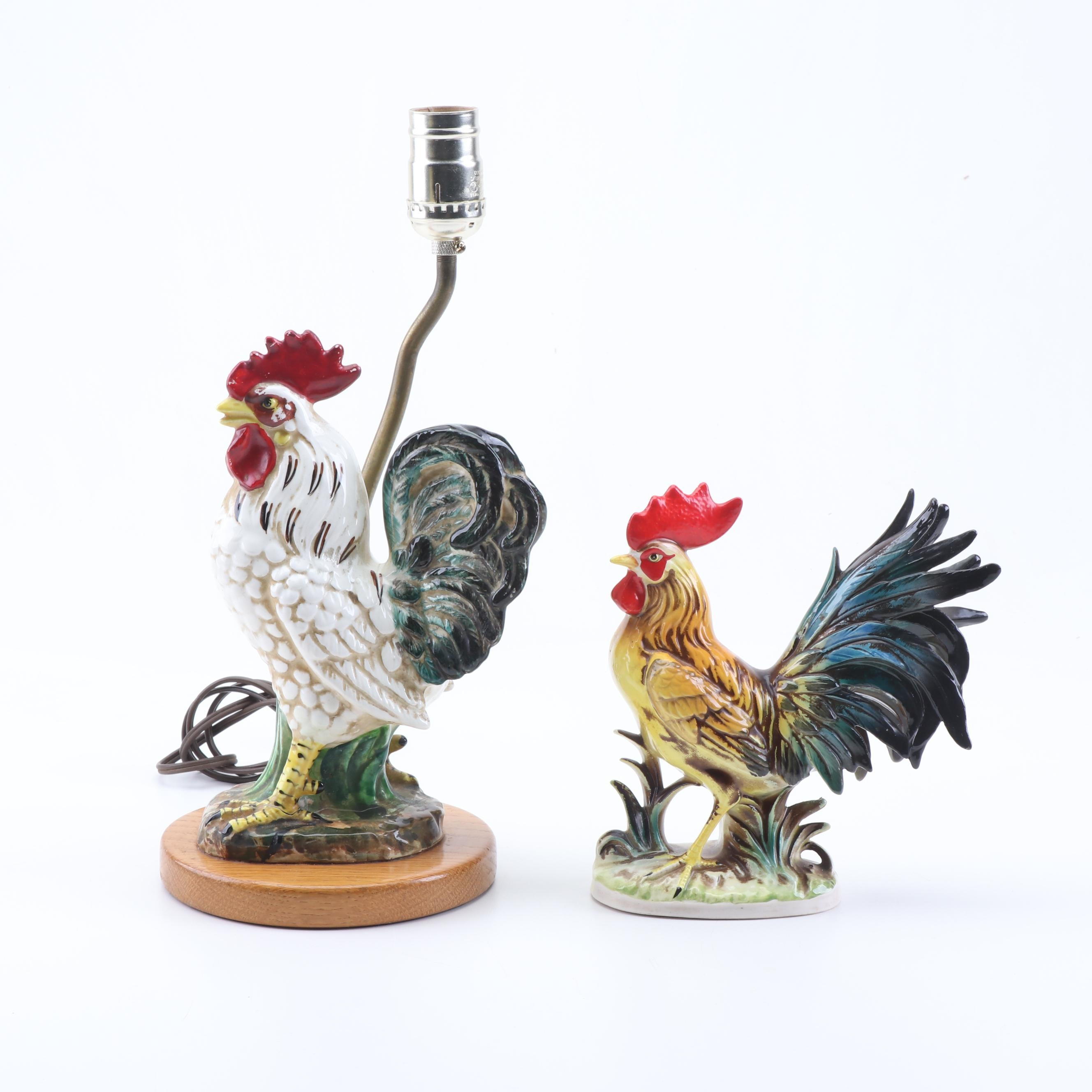 Ceramic Rooster Figurine and Desk Lamp