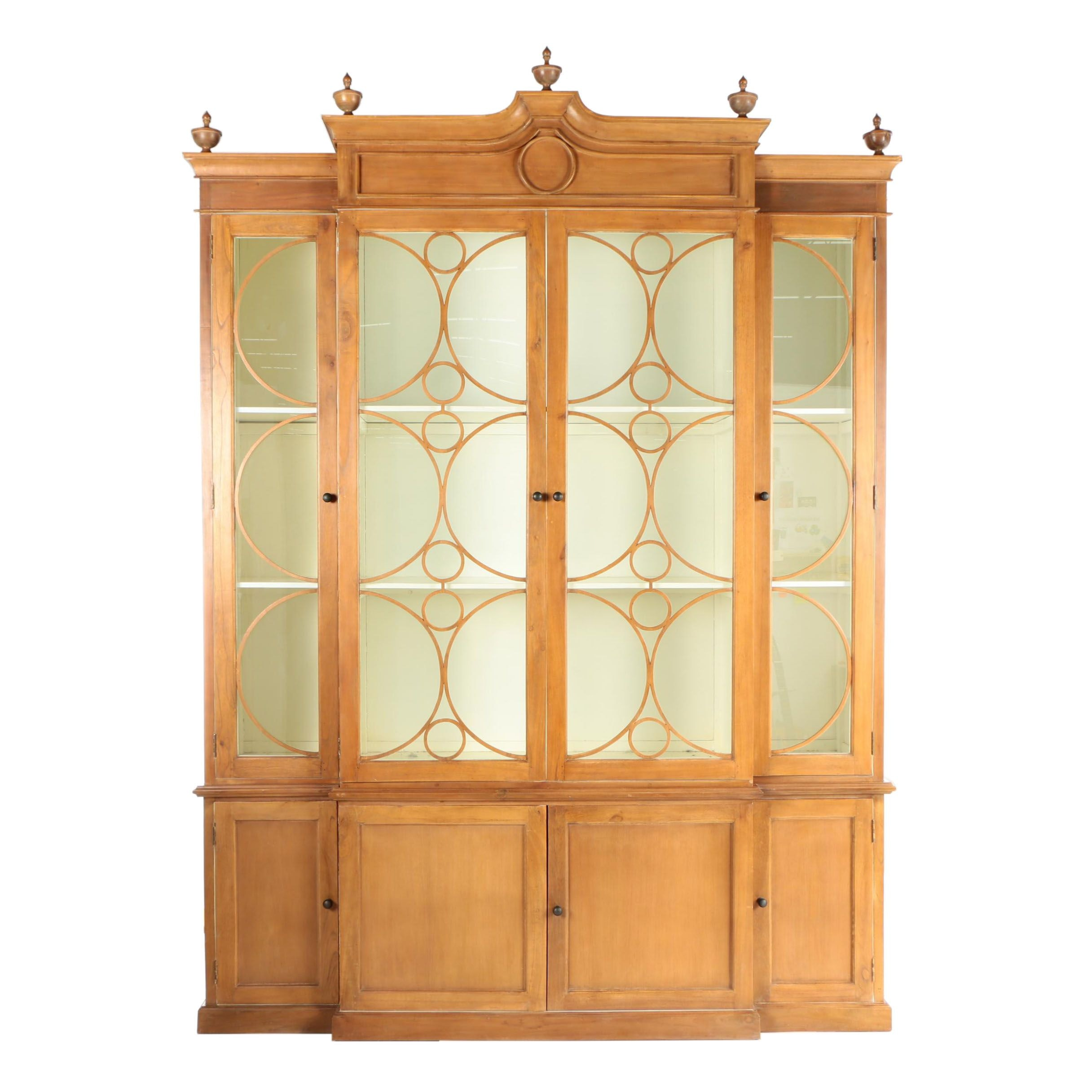 Monumental French Provincial Style Breakfront Display Cabinet
