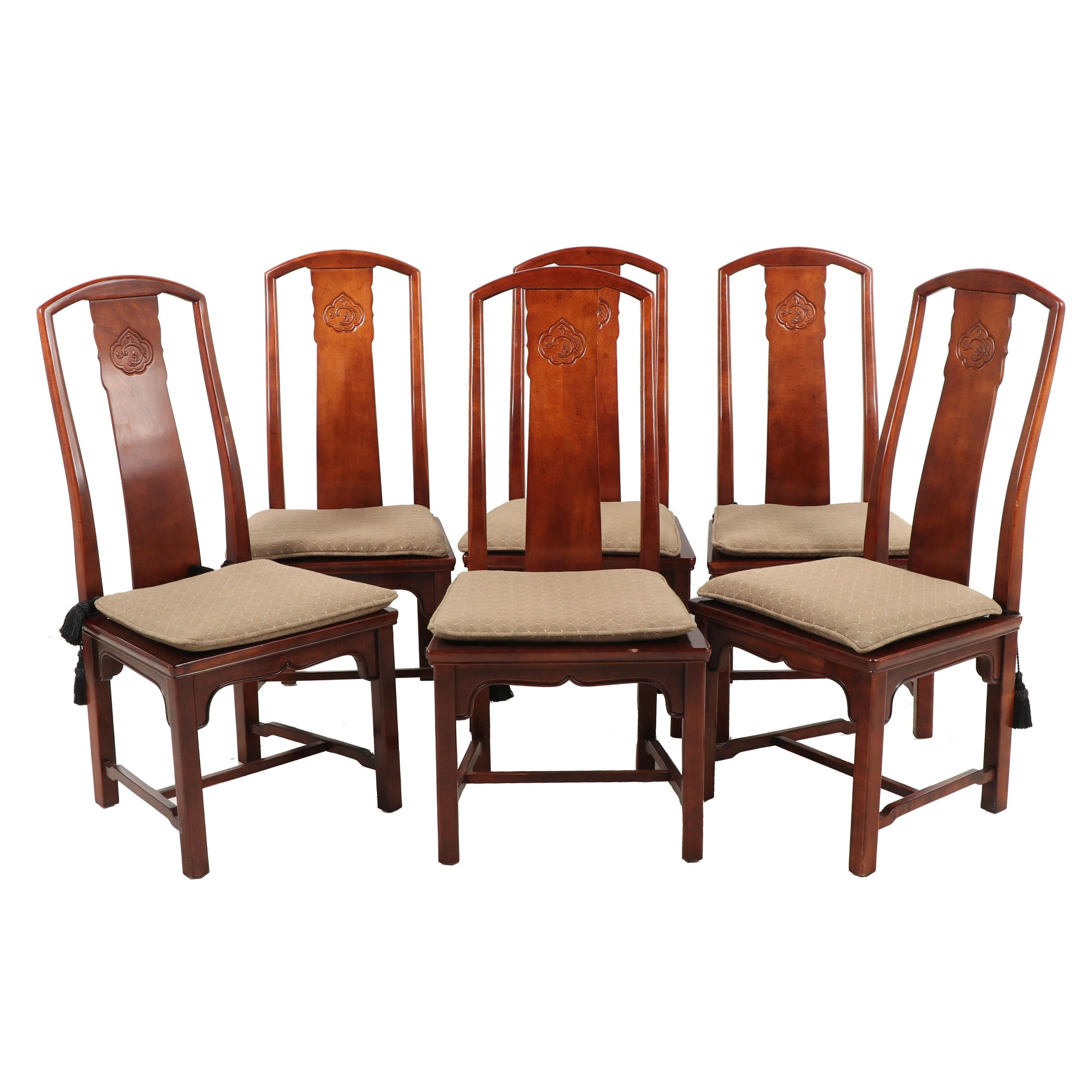 Chinese Inspired Henredon Dining Chairs with Cane Seats, Contemporary