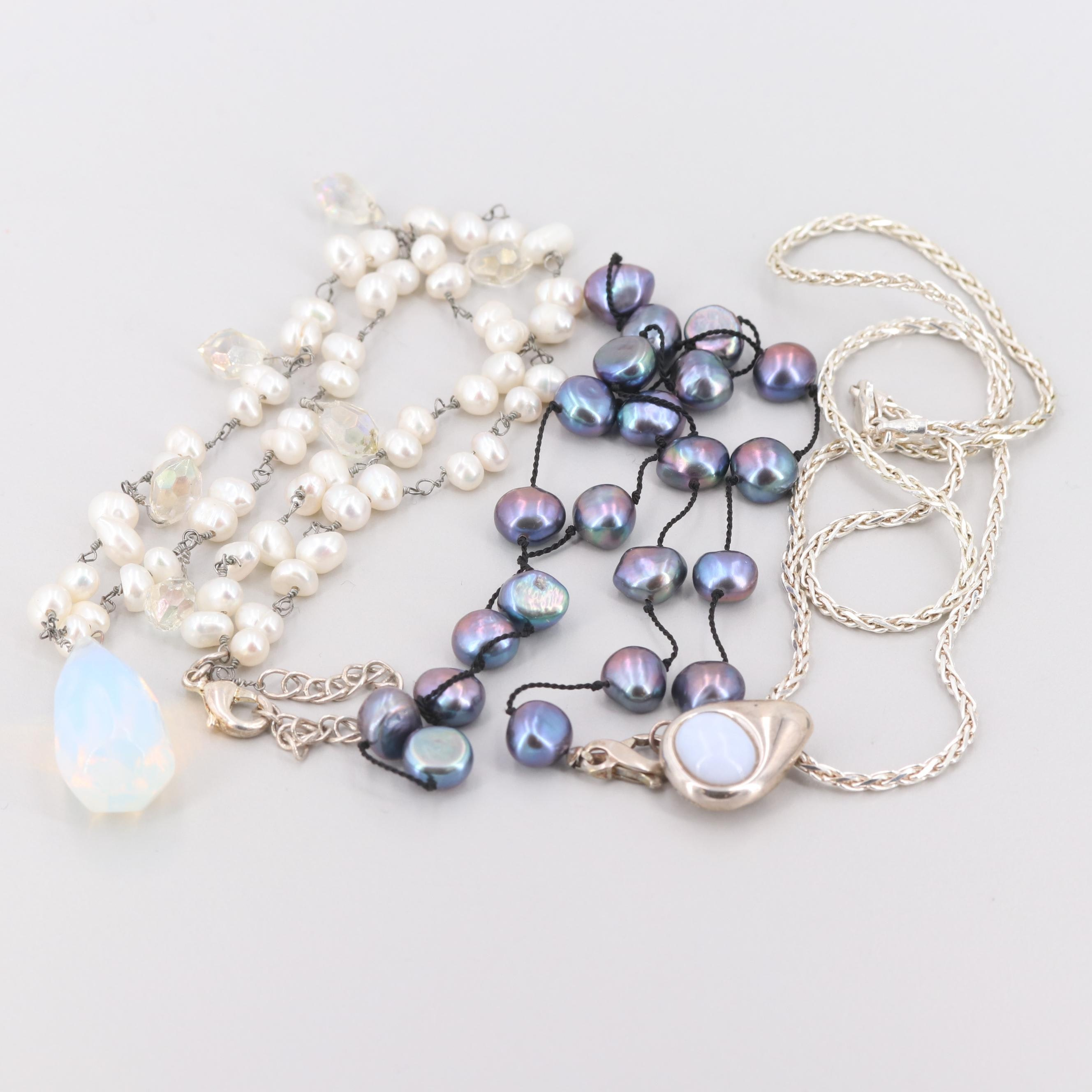 Sterling Silver and Silver Tone Agate, Cultured Pearl, and Glass Necklaces