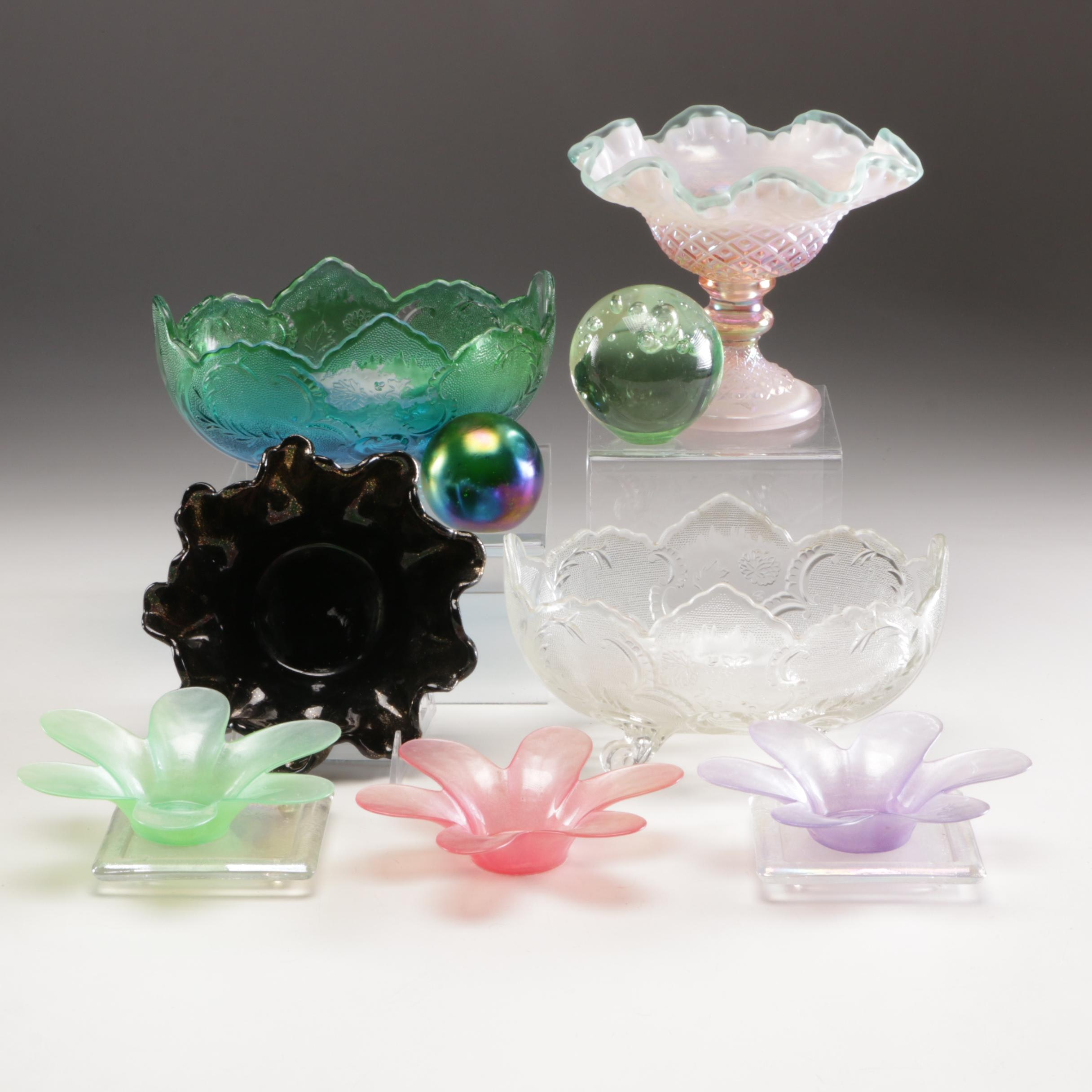 Grouping of Carnival Glass Tableware, Glass Paperweights and Candle Holders