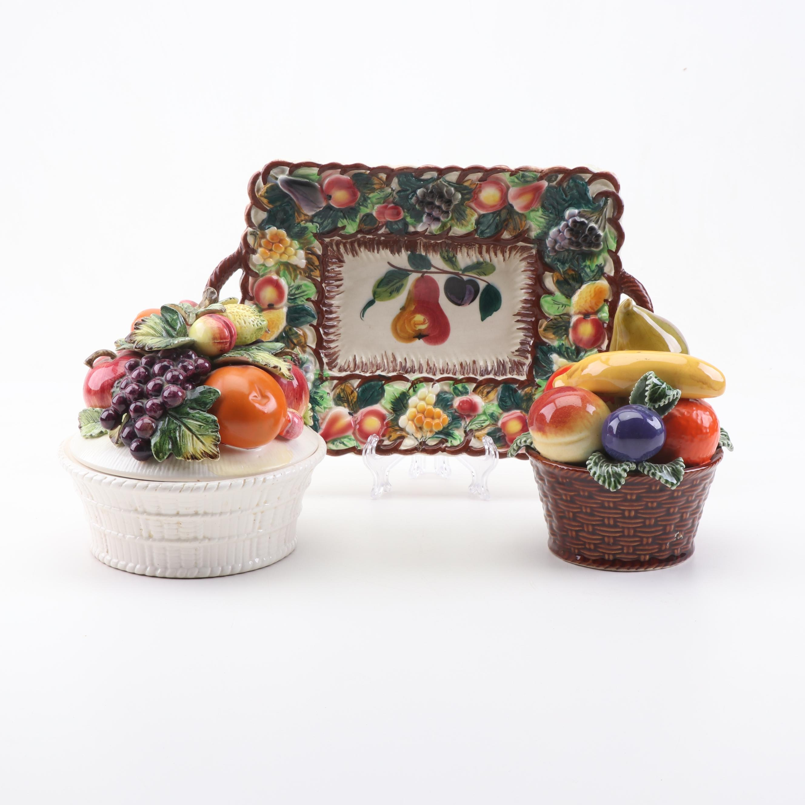 Assortment of Ceramic Fruit Trays and Containers