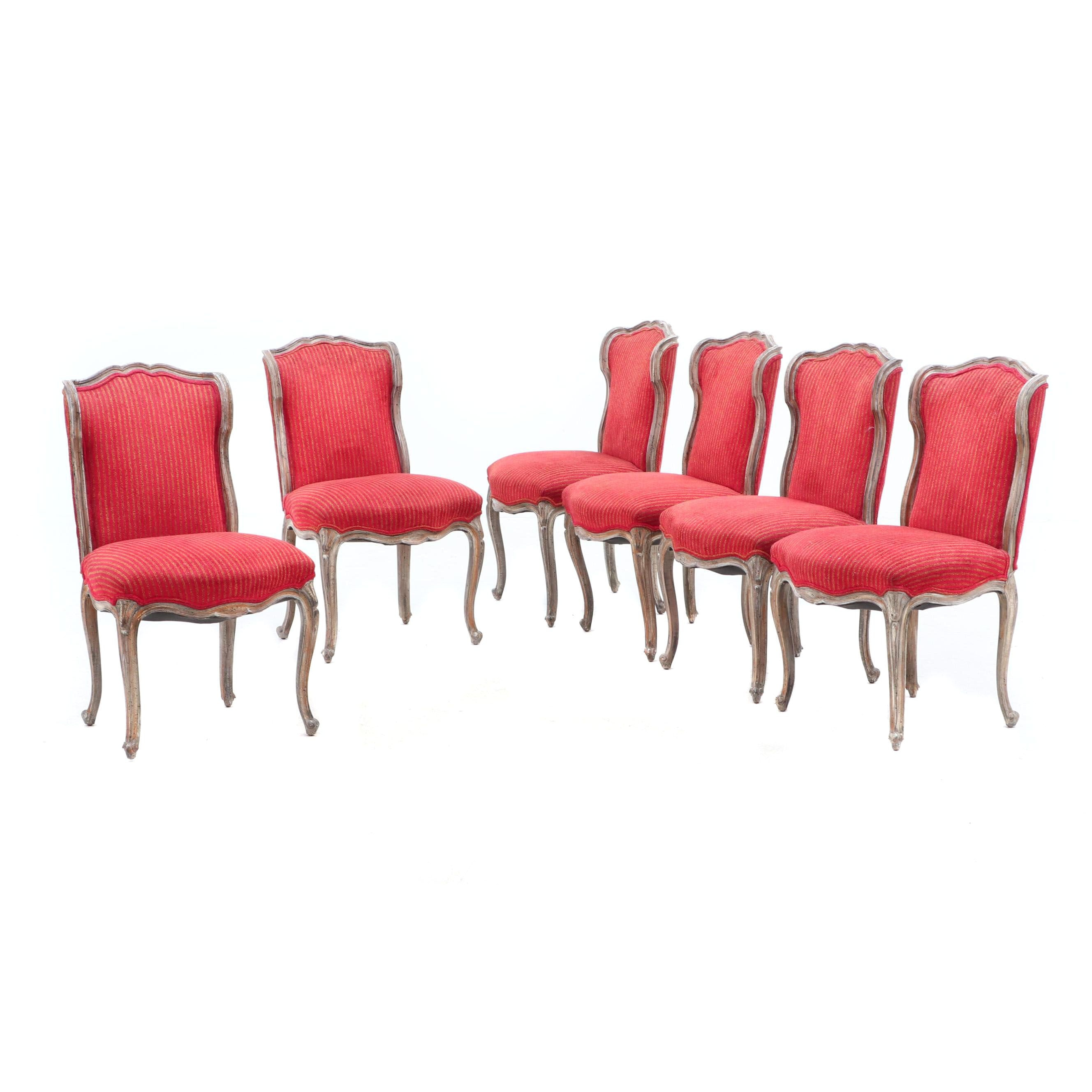 French Style Painted Distressed Finish Upholstered Side Chairs, Circa 1980s