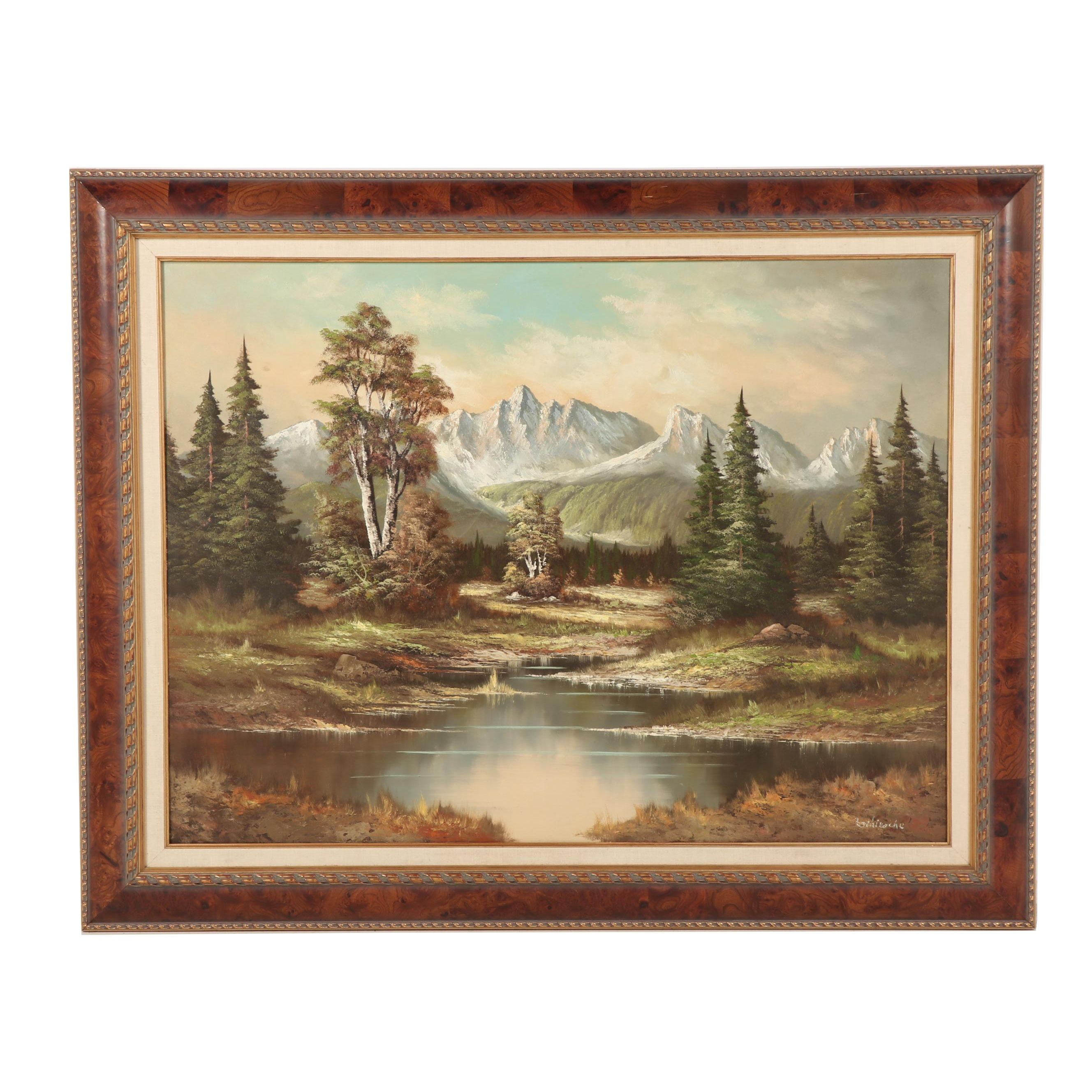 Mid 20th Century Mountain Landscape Oil Painting