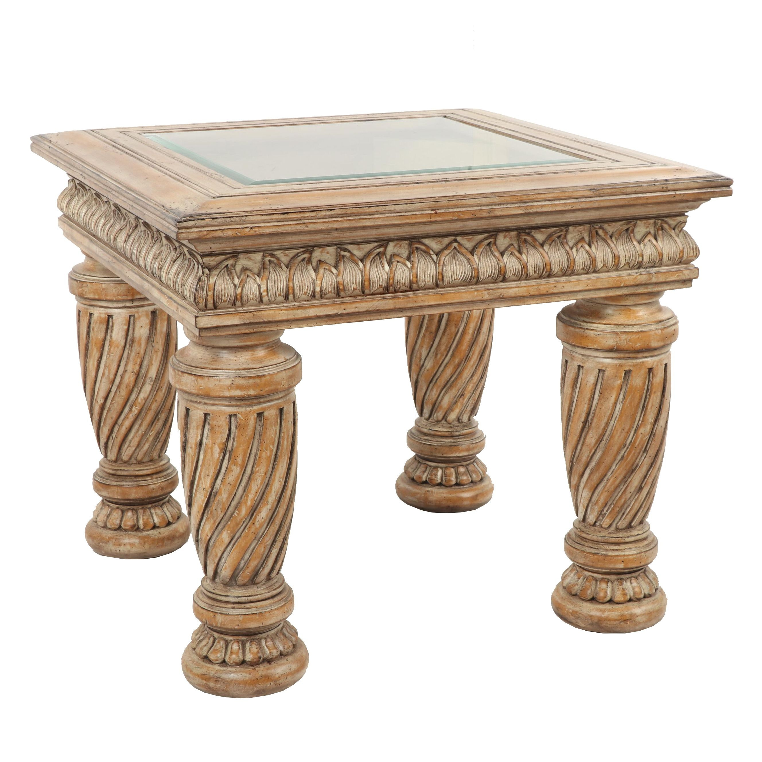 Contemporary Traditional Glass Top Side Table with Distressed Finish