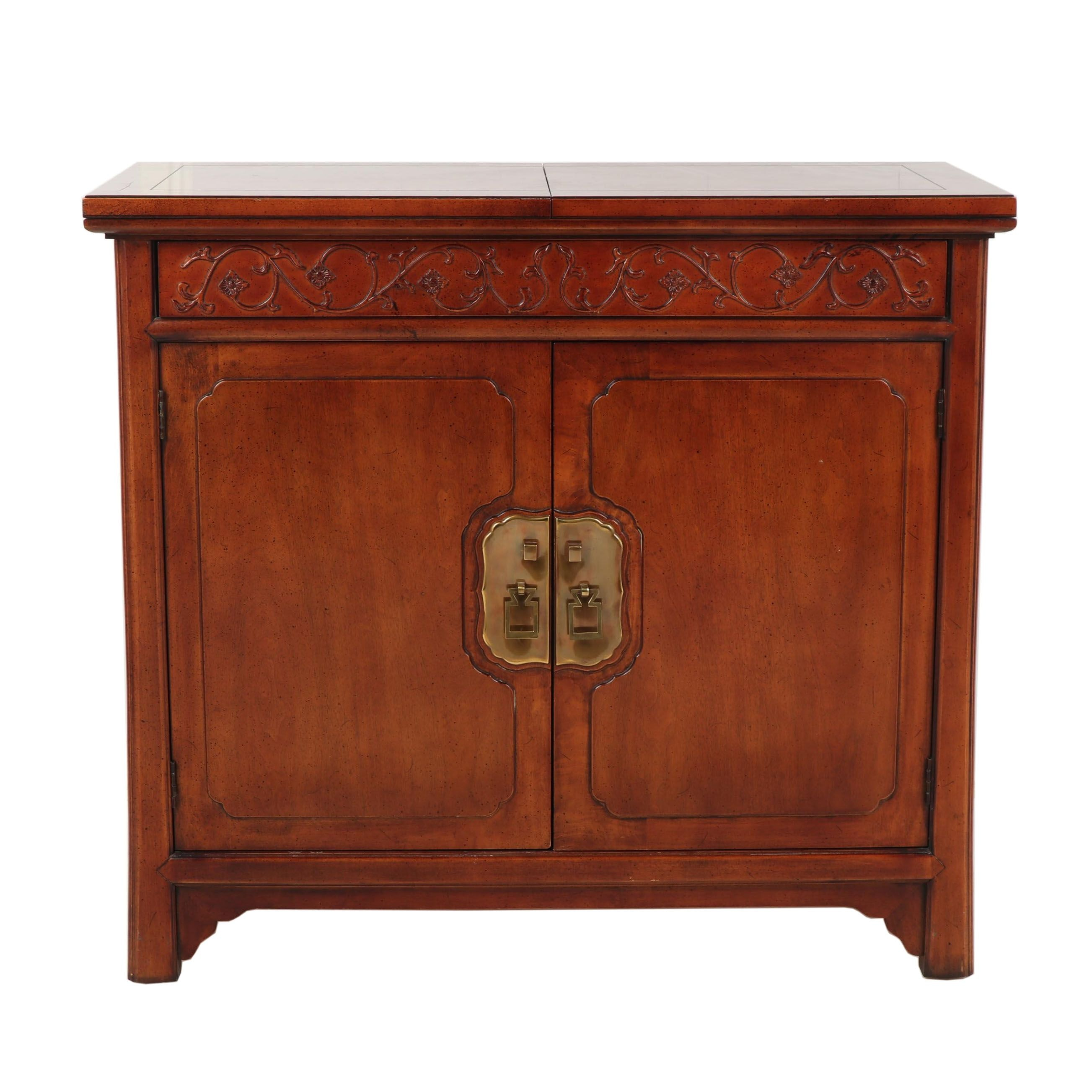 Chinese Inspired Henredon Server with Fold Out Top, Contemporary